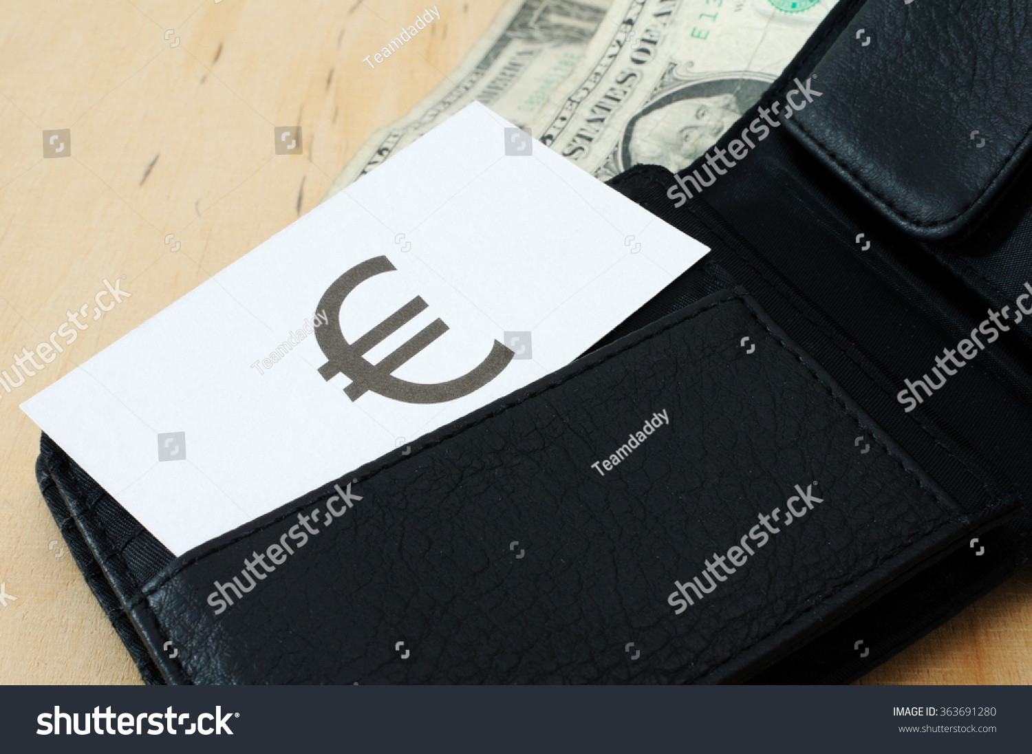 Business Card Sign Euro Wallet Dollars Stock Photo 363691280 ...