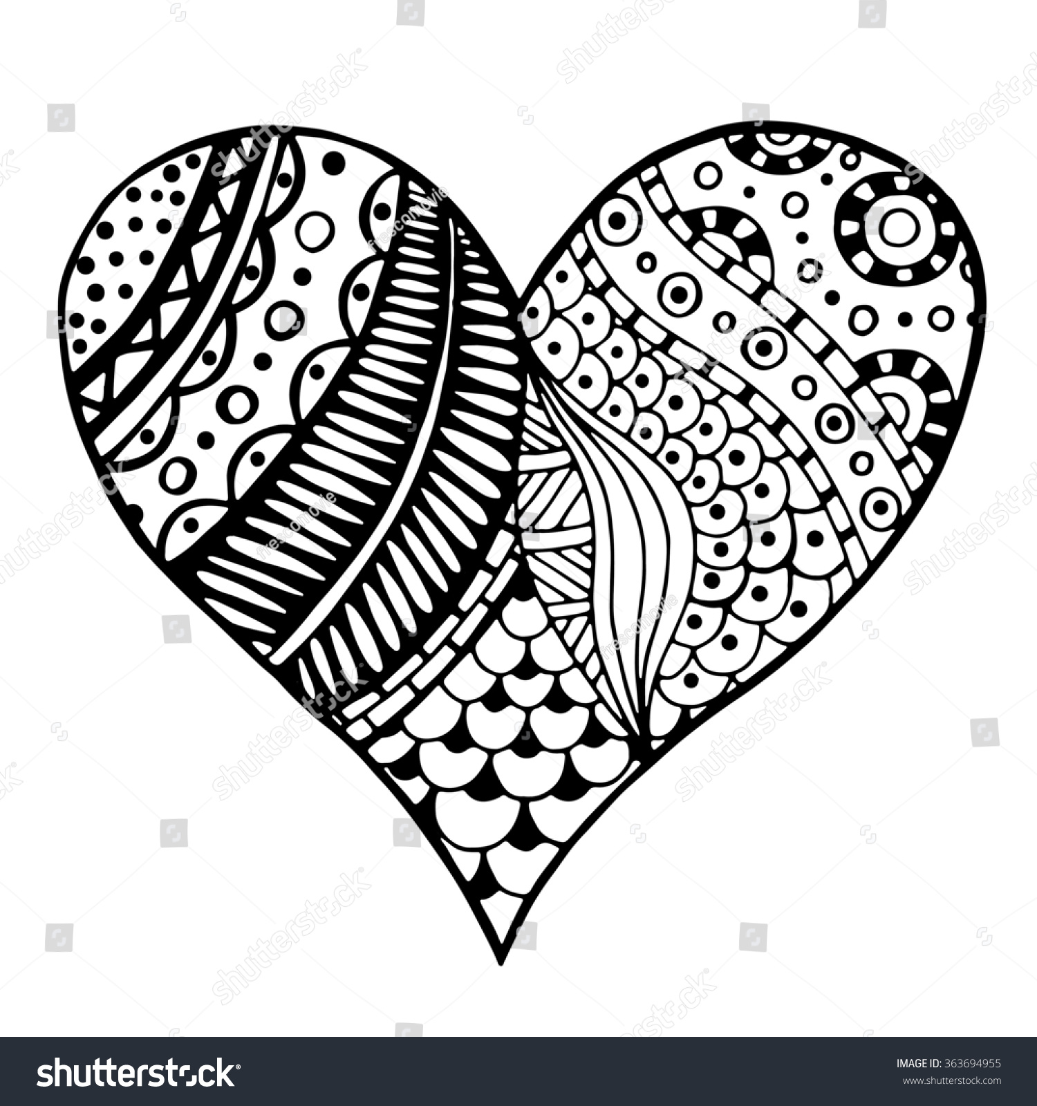 heart zentangle coloring pages - photo#36