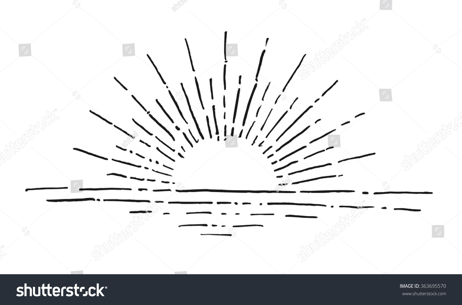 Line Drawing Sun Vector : Linear drawing sun rise vintage style stock vector