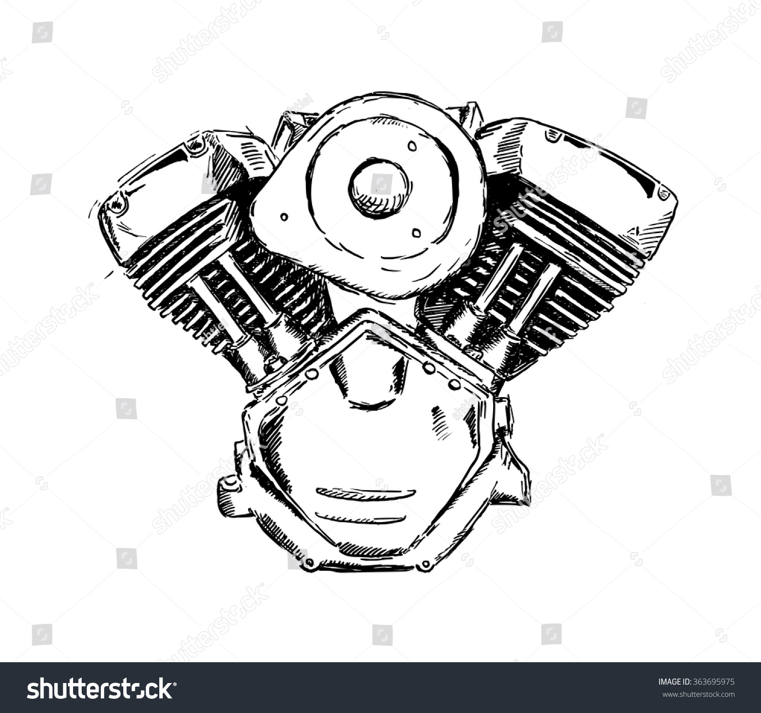 Royalty-free Vector ink sketch of motorcycle engine ...