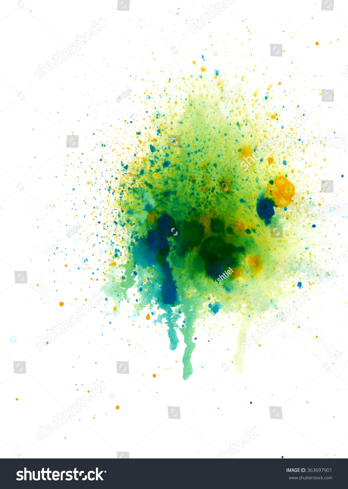 Abstract Watercolor Palette Blue Yellow Green Stock Vector (Royalty ...