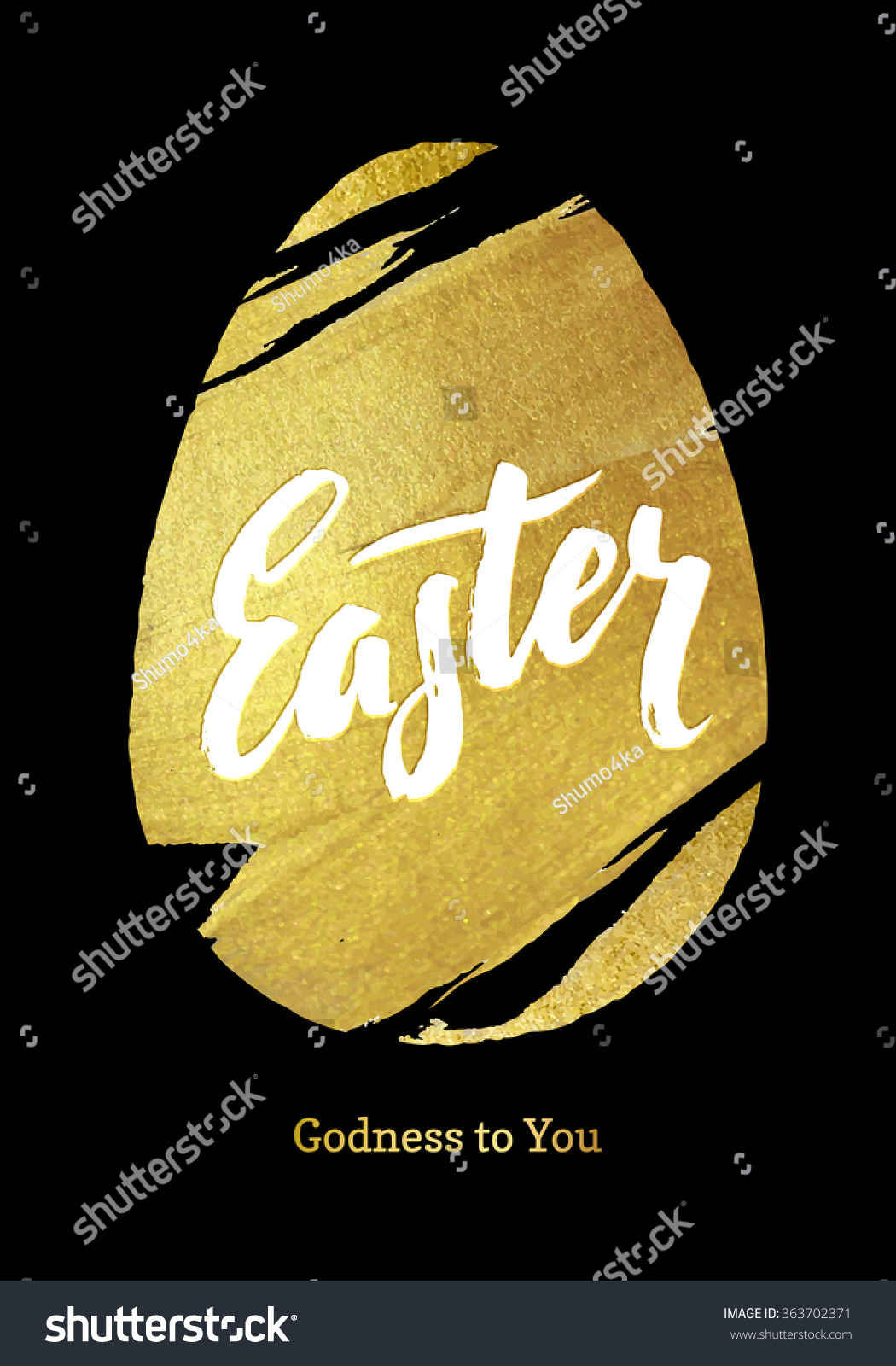 Gold Foil Happy Easter Greeting Egg Stock Vector Royalty Free