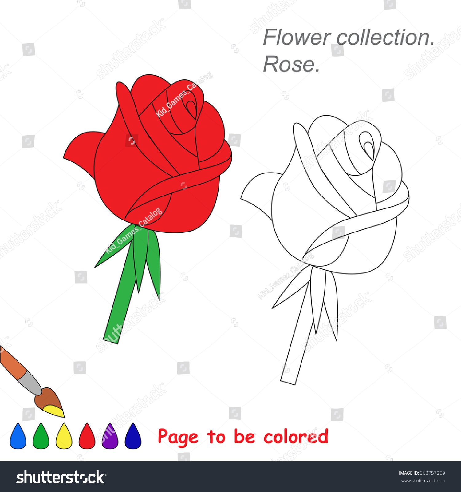 Rose Vector Cartoon Be Colored Coloring Stock Vector (2018 ...