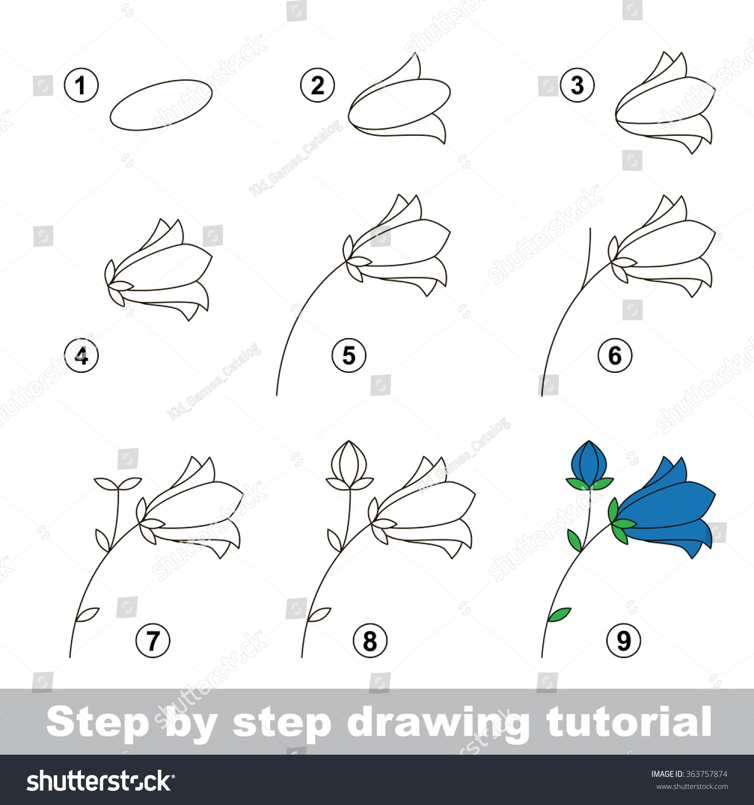 Uncategorized Flower To Draw Step By Step step by drawing tutorial vector stock 363757874 kid game how to draw a bluebell flower