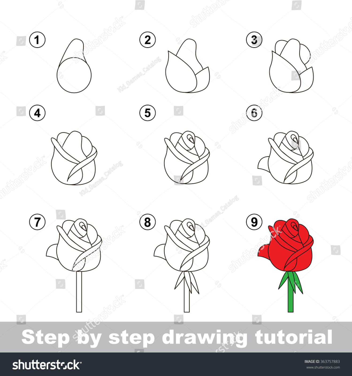 Step By Step Drawing Tutorial Vector Stock Vector Royalty Free