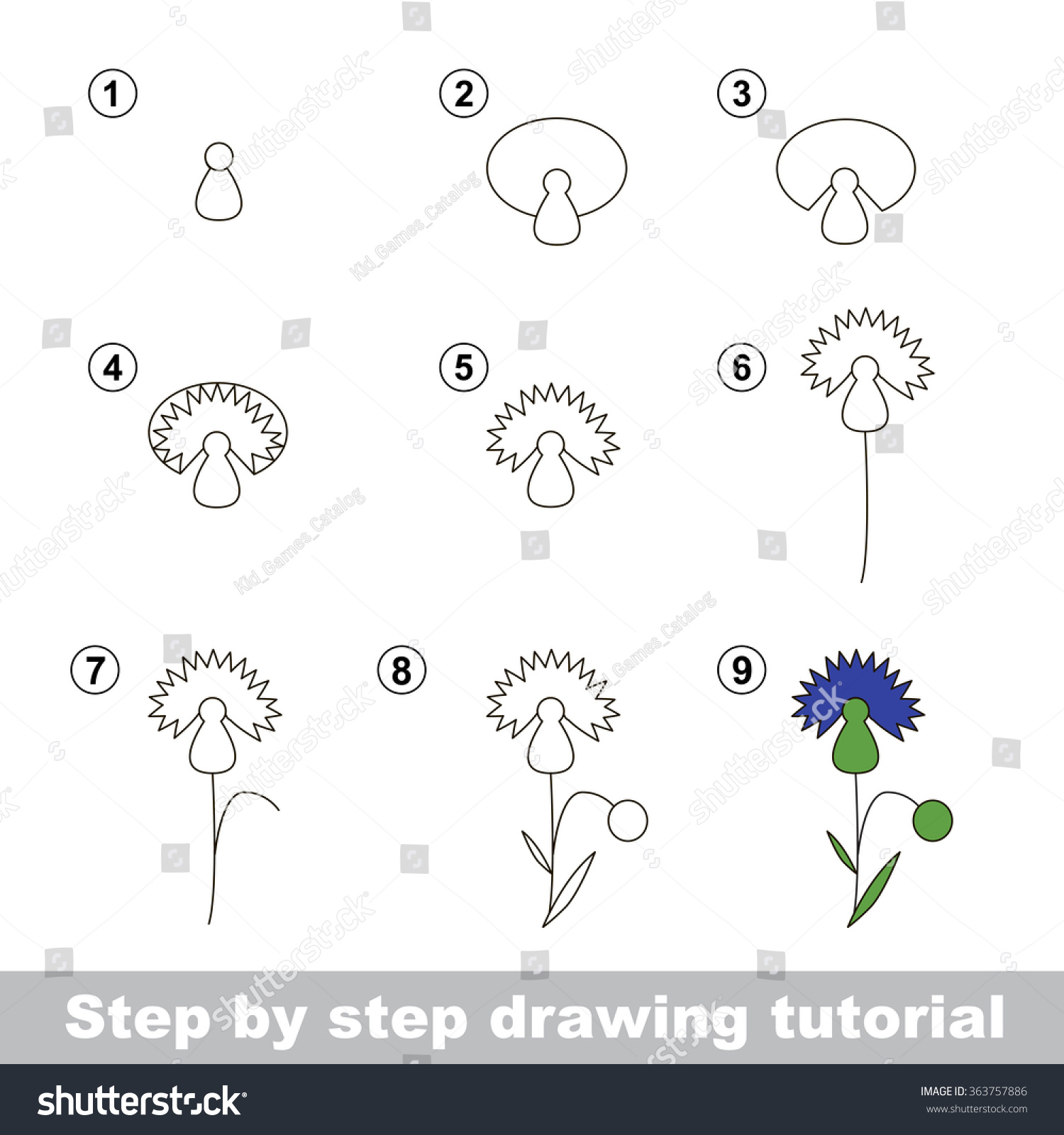 Step By Step Drawing Tutorial Vector Kid Game How To Draw A Cornflower Step  By Step