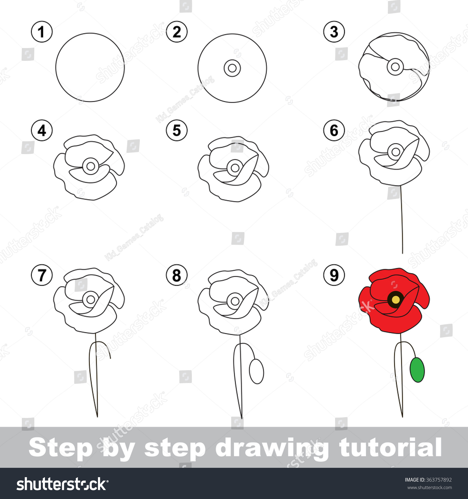 Step by step drawing tutorial vector stock vector for How to draw the flower of life step by step