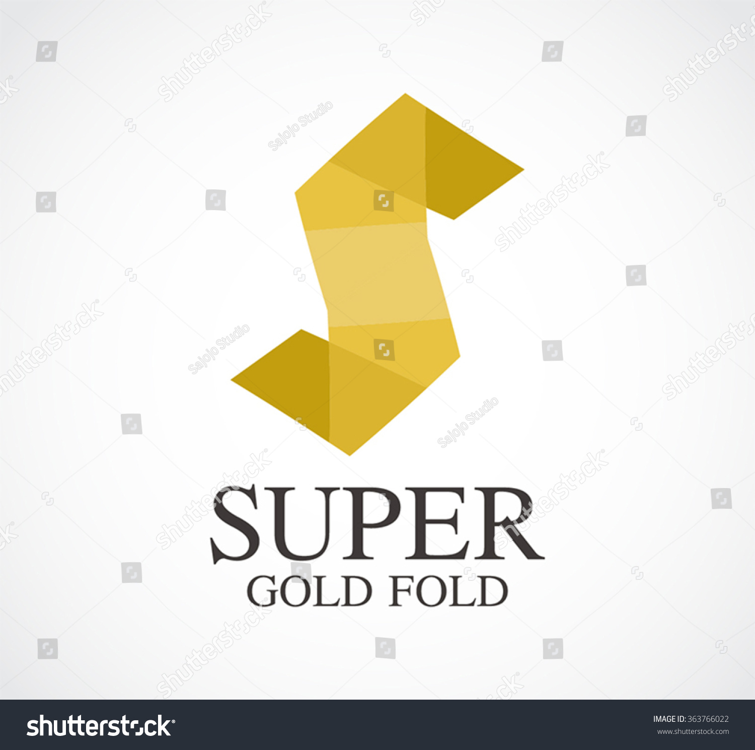 Gold Letter S Paper Fold Abstract Stock Vector