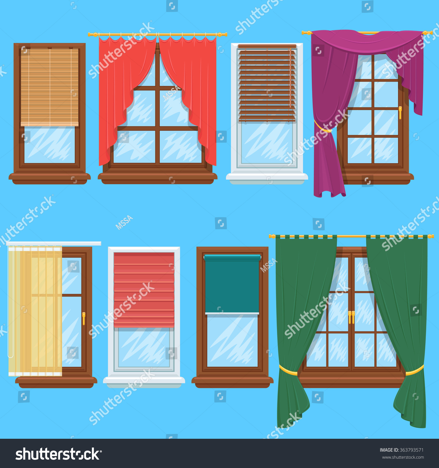 Window curtains and blinds set Jalousie for house or creative home interior vector illustration