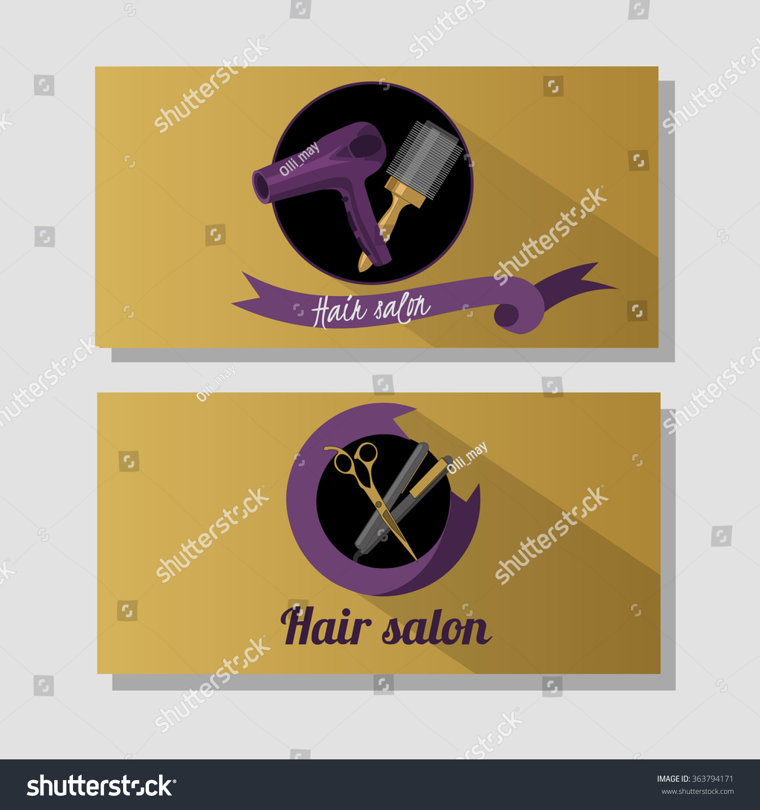 Hair Salon Business Card Design Concept Stock Vector 363794171 ...