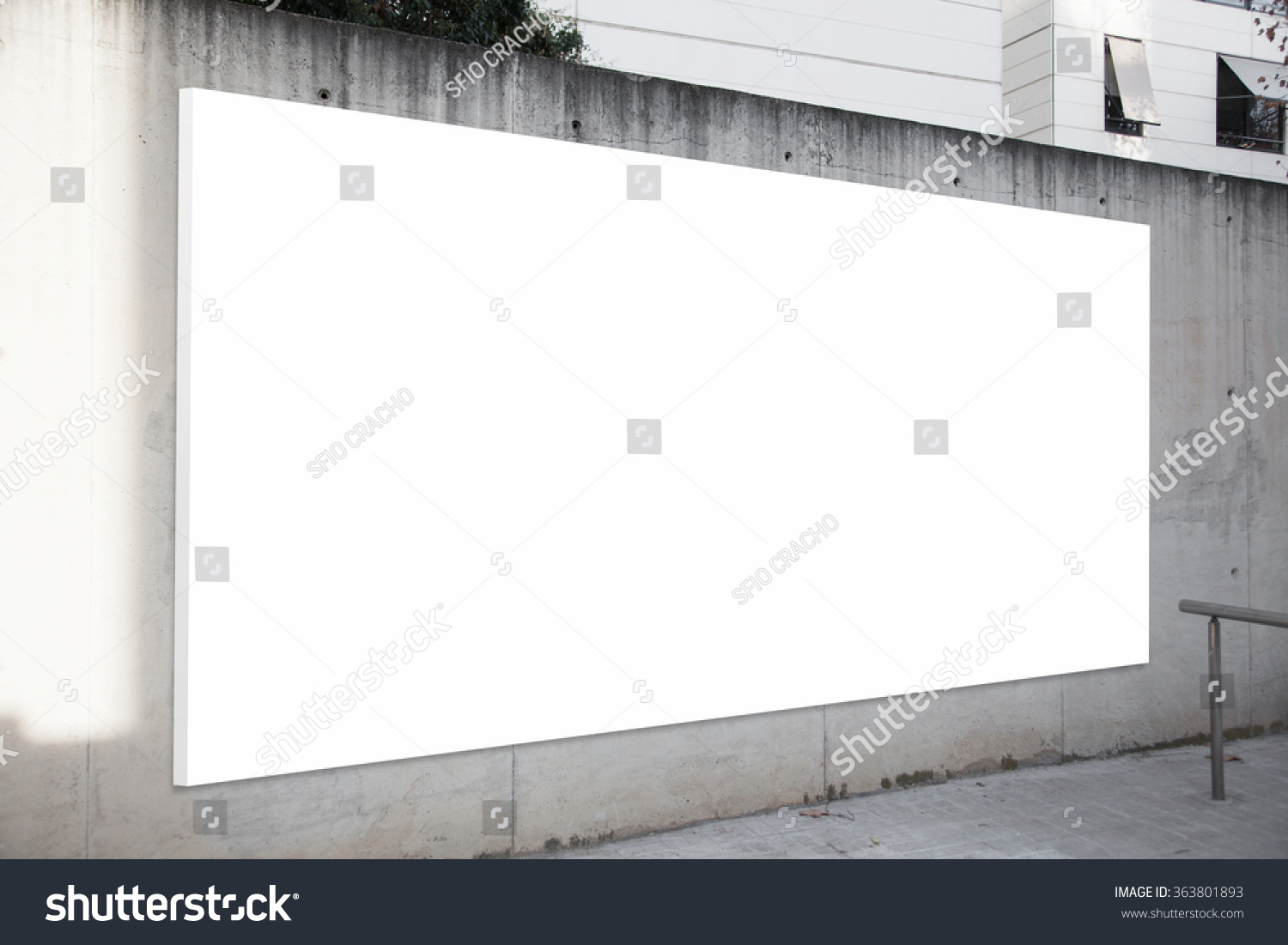 Empty billboard on the concrete gray background White screen