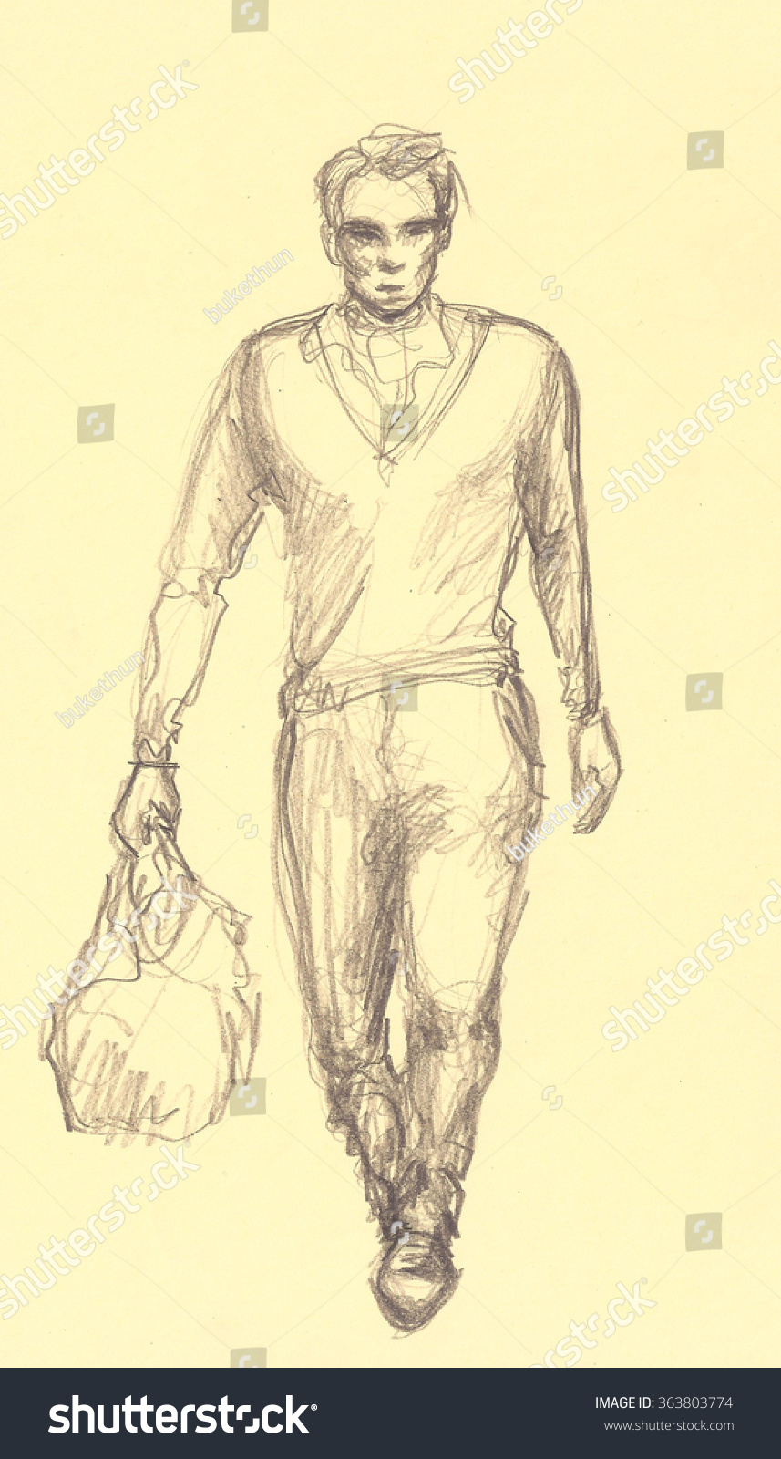 Fashion man walking with bag pencil drawing hand drawn charcoal paint handsome guy