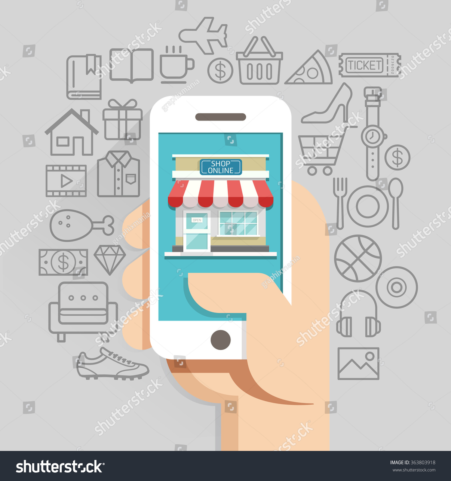 Shopping Online Business Conceptual Flat Style Stock Vector ...