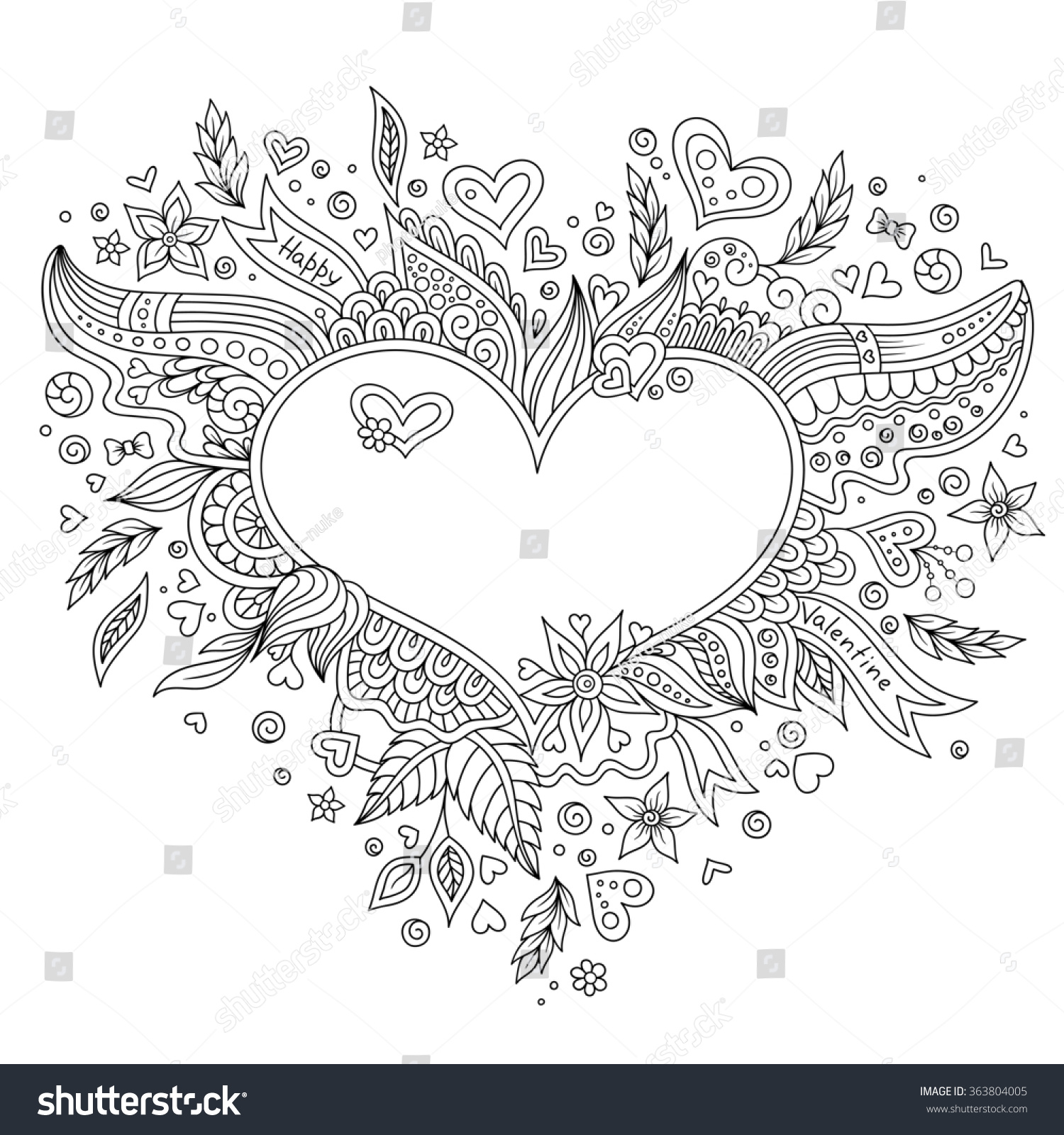 coloring page flower heart st valentines stock vector 363804005