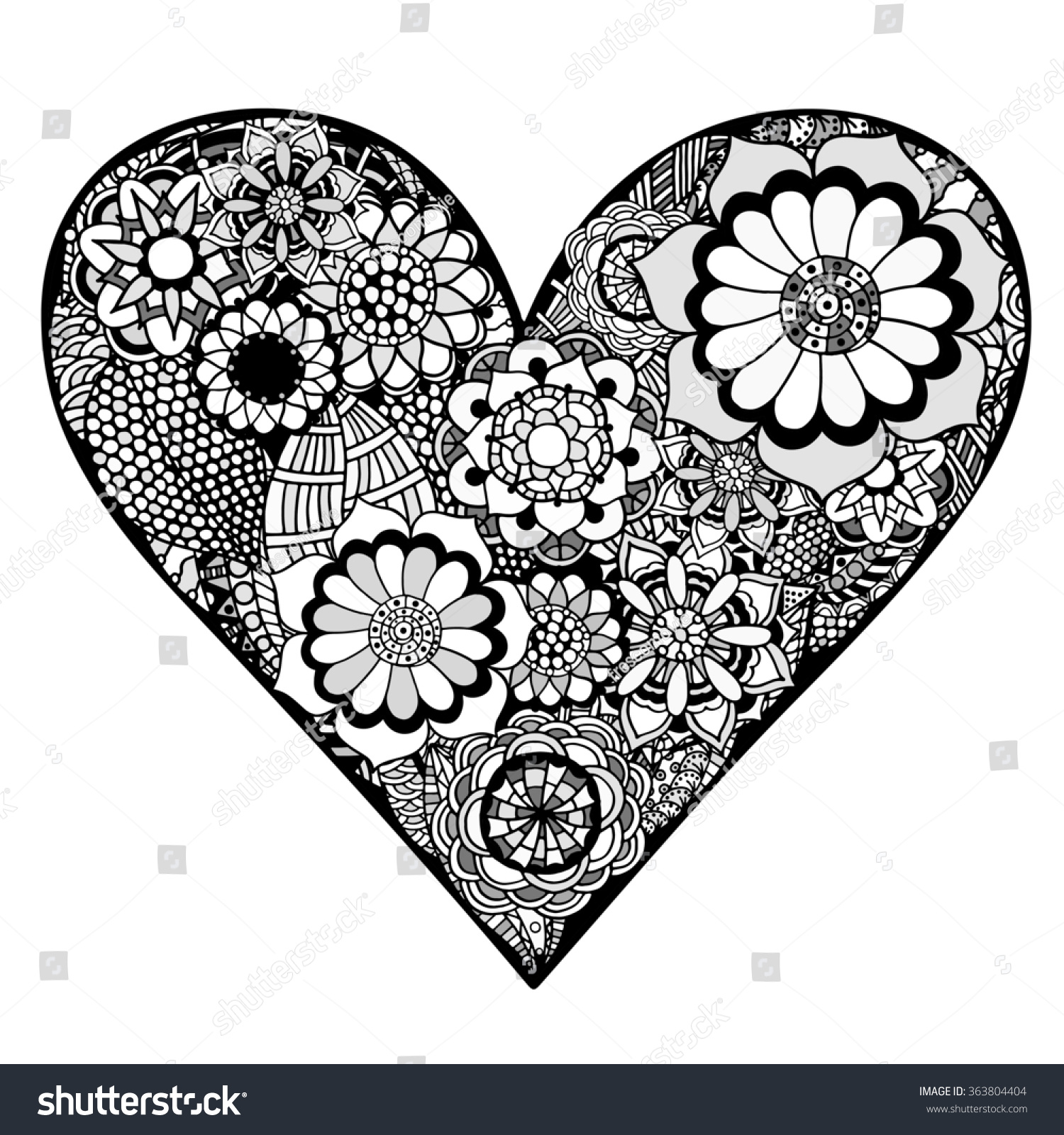 Hand Drawn Heart Flower Doodle Background Stock Illustration
