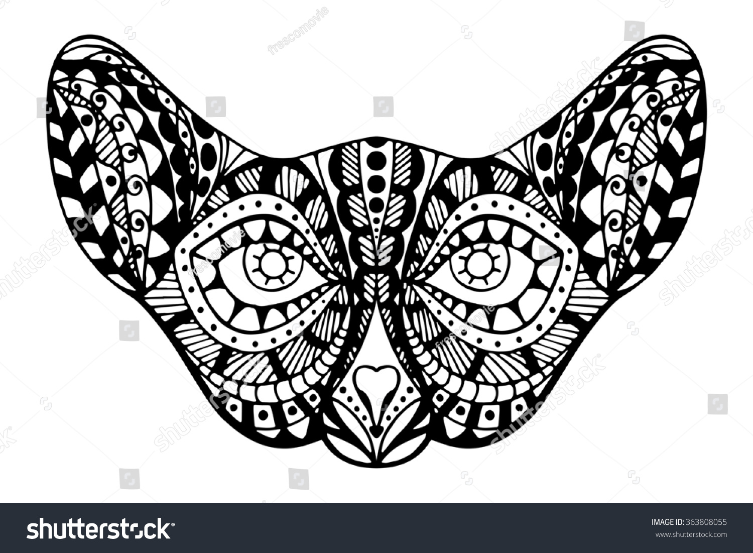 zentangle stylized cat face tribal animal stock illustration
