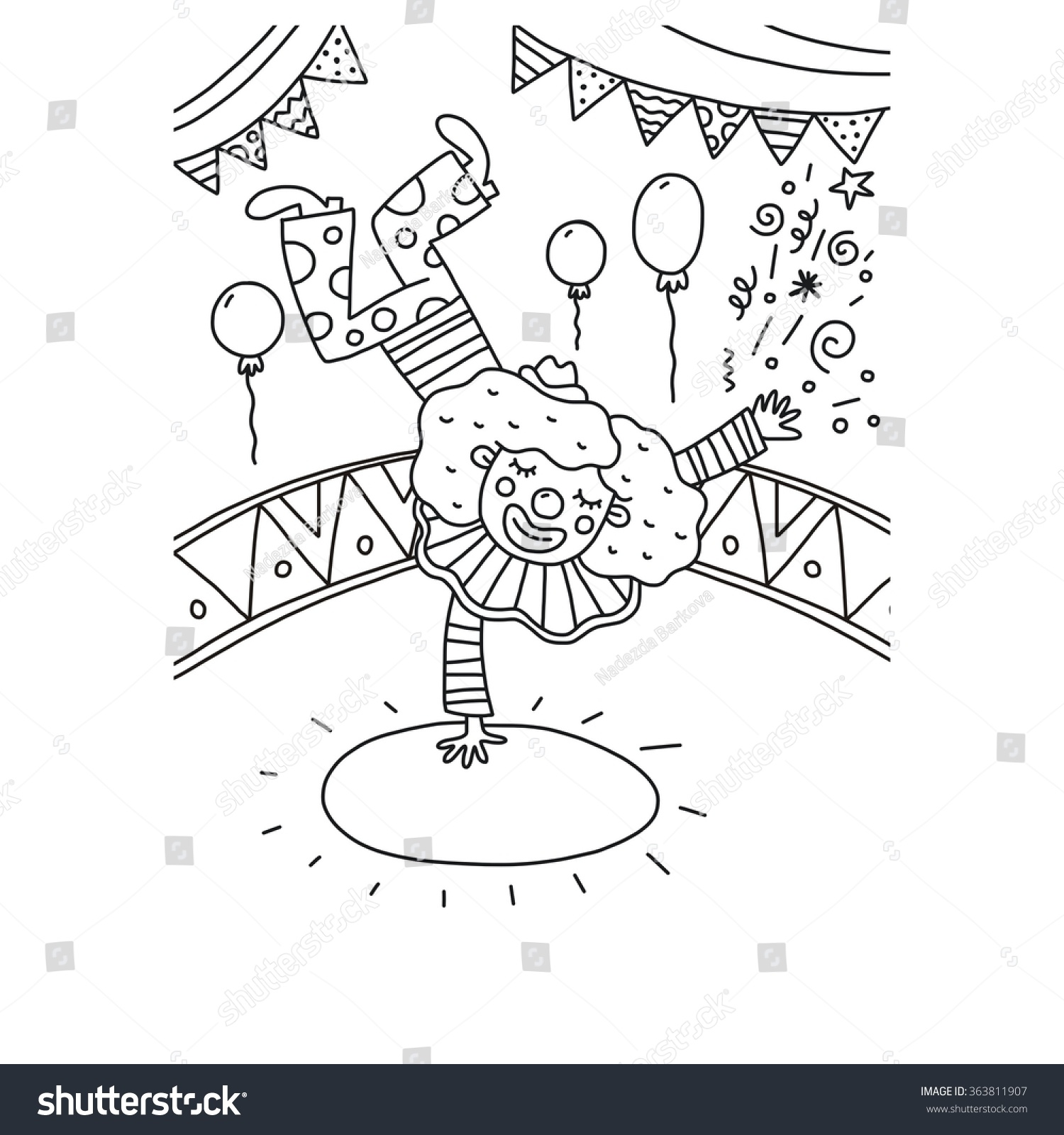 Coloring Page Funny Clown Balloon Stock Vector (Royalty Free ...