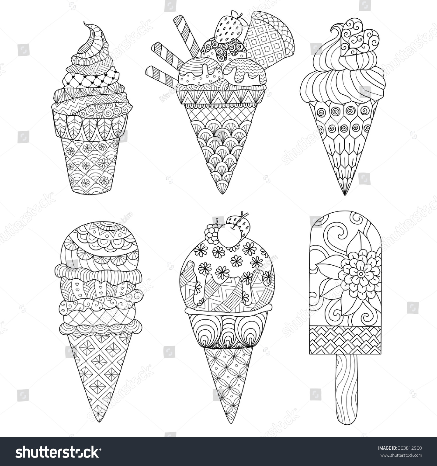 Coloring pictures of ice cream cones - Zentangle Ice Cream Set For Coloring Book For Adult And Other Decorations