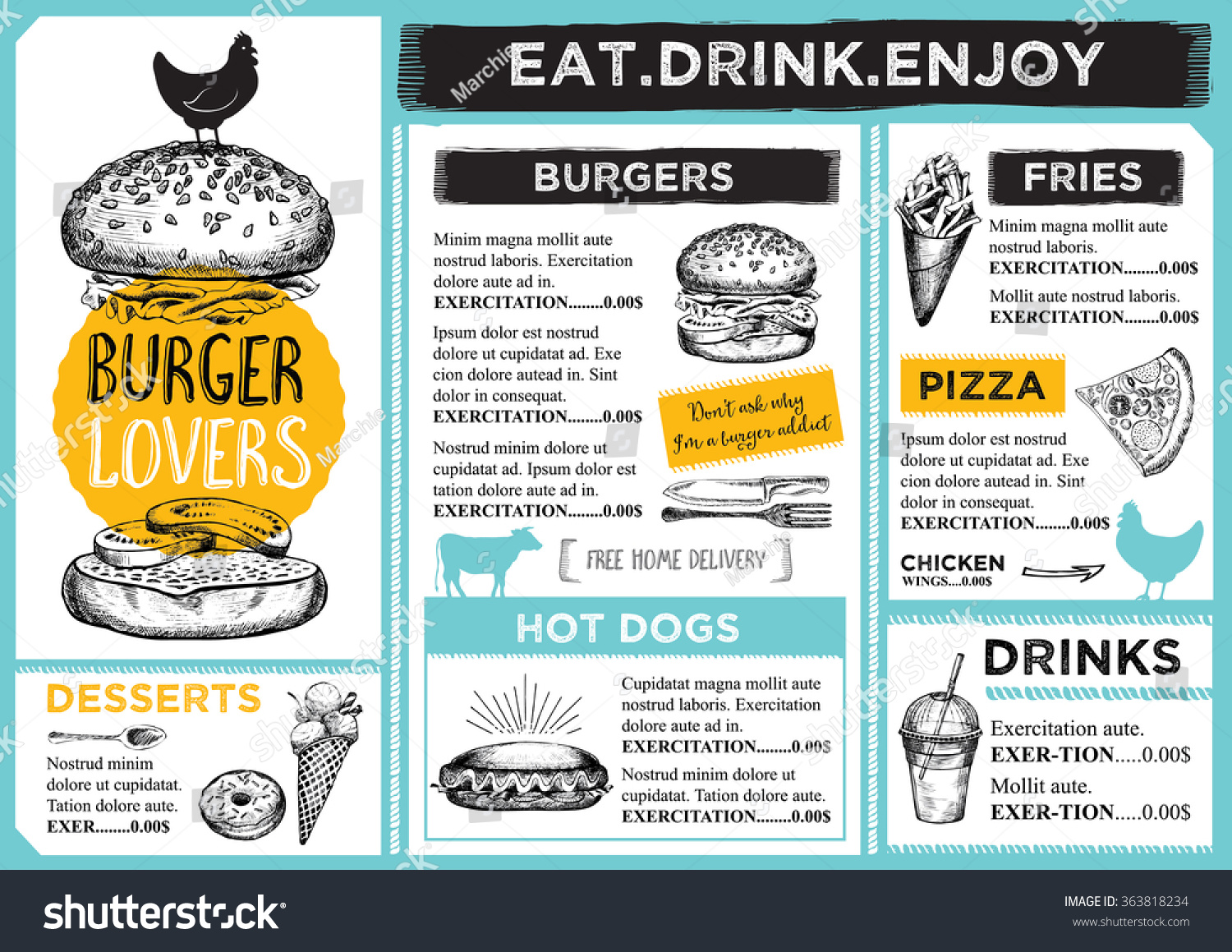 Restaurant Brochure Vector Menu Design Vector Vector – Restarunt Brochure