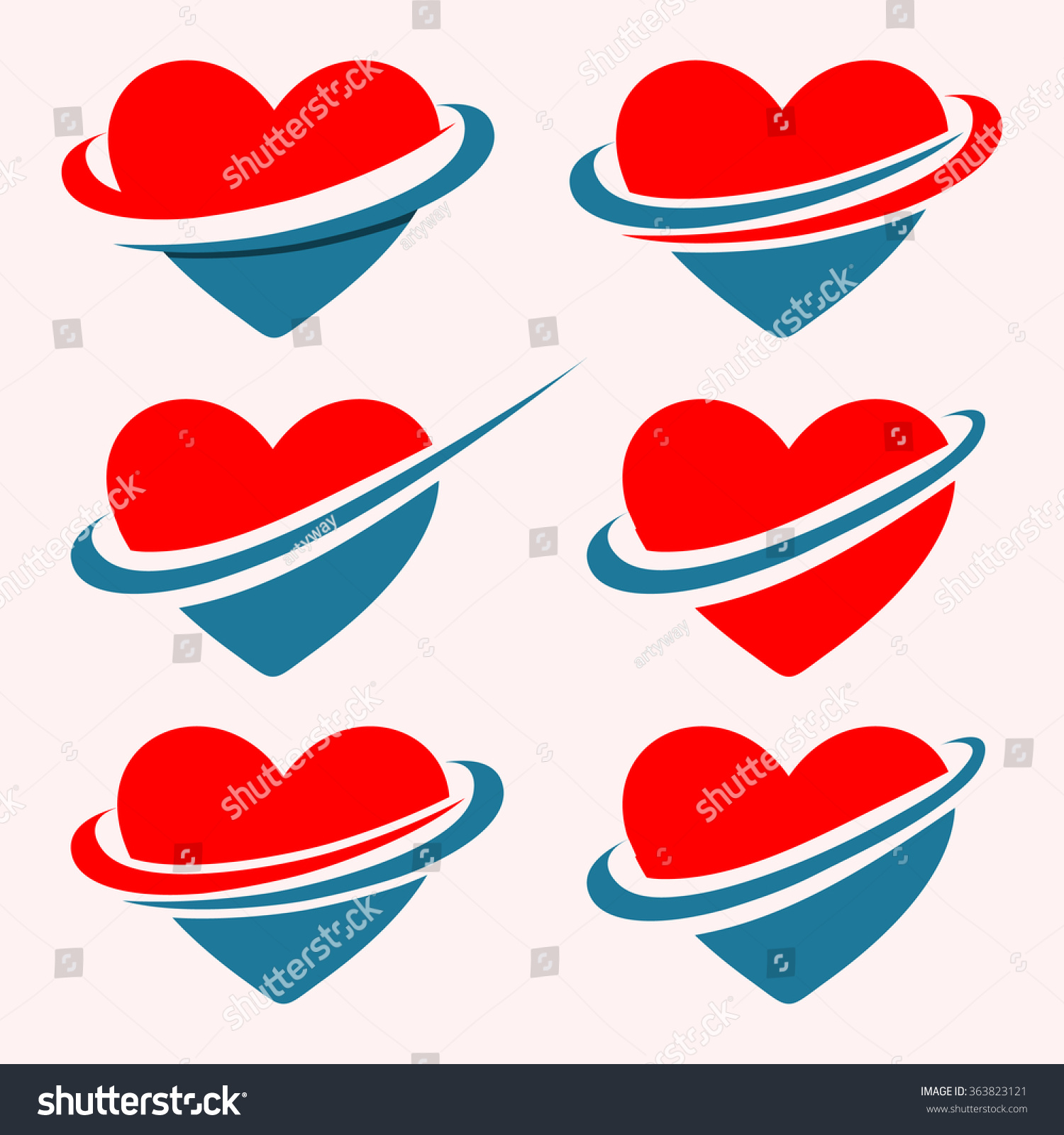 Red Blue Hearts Ribbon Vector Logo Stock Vector Royalty Free