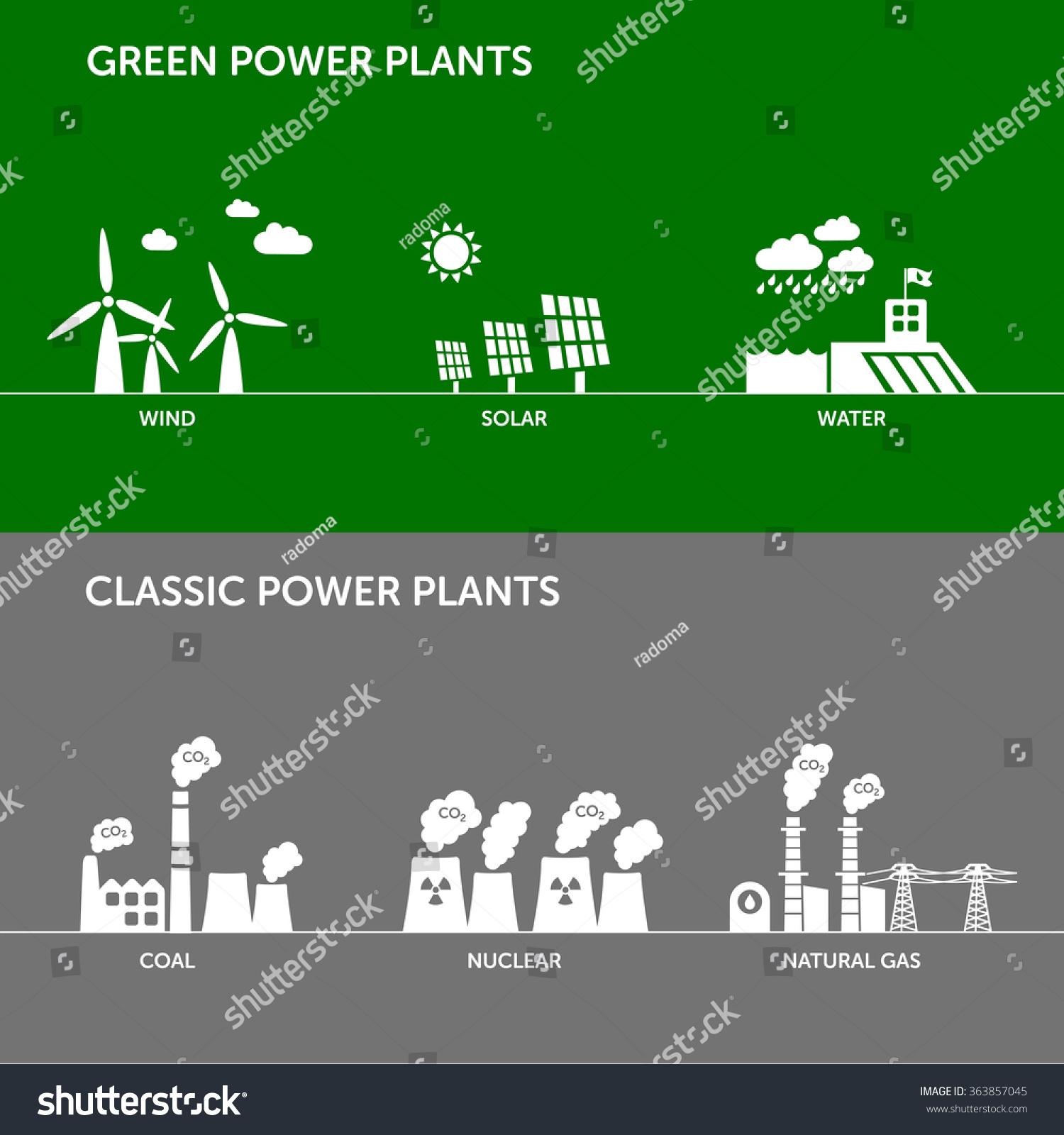 Types Renewable Wind Solar Water Classic Stock Vector