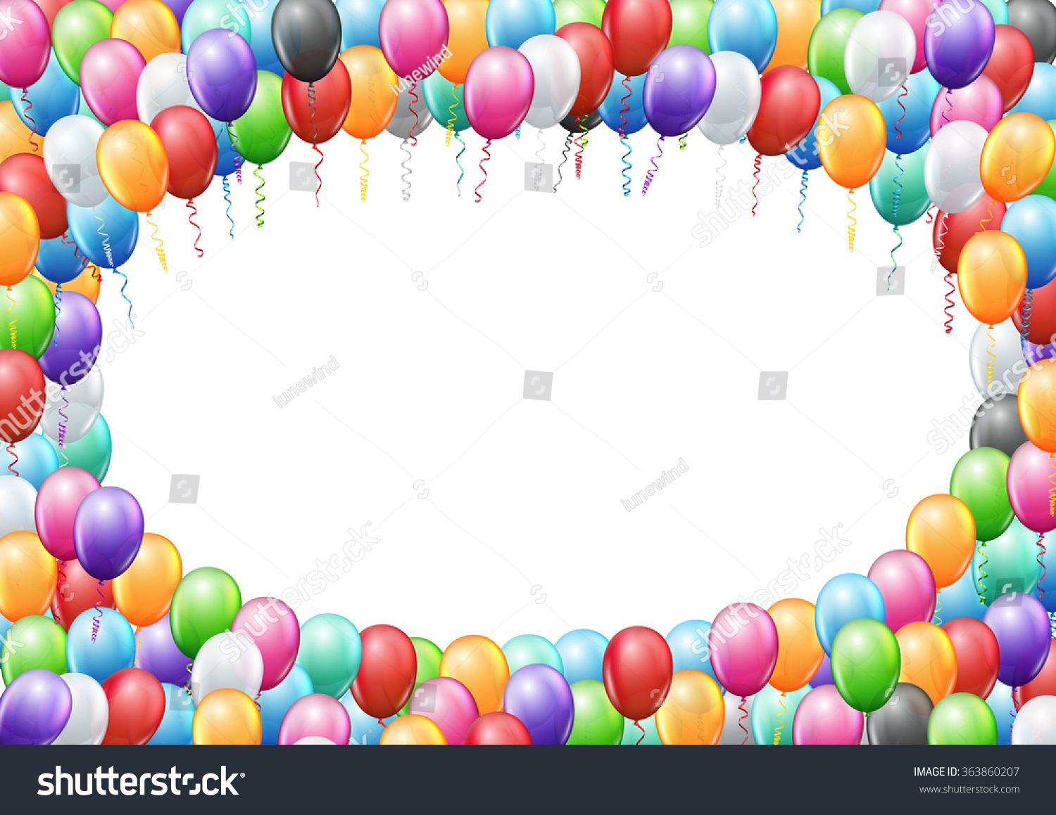 colored balloons frame a4 proportions page template for birthday or party invitation vector background