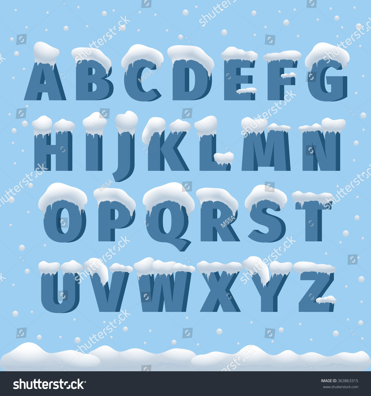 winter vector alphabet with snow letter abc ice cold