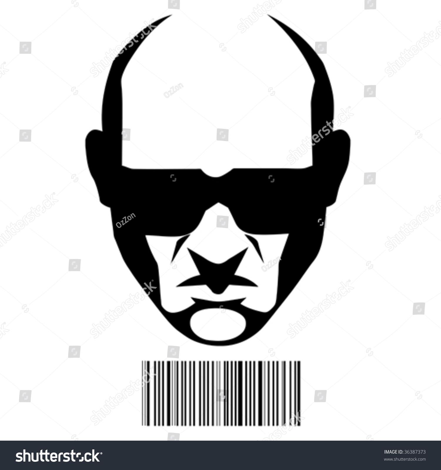 hitman face barcode identification stock vector royalty free