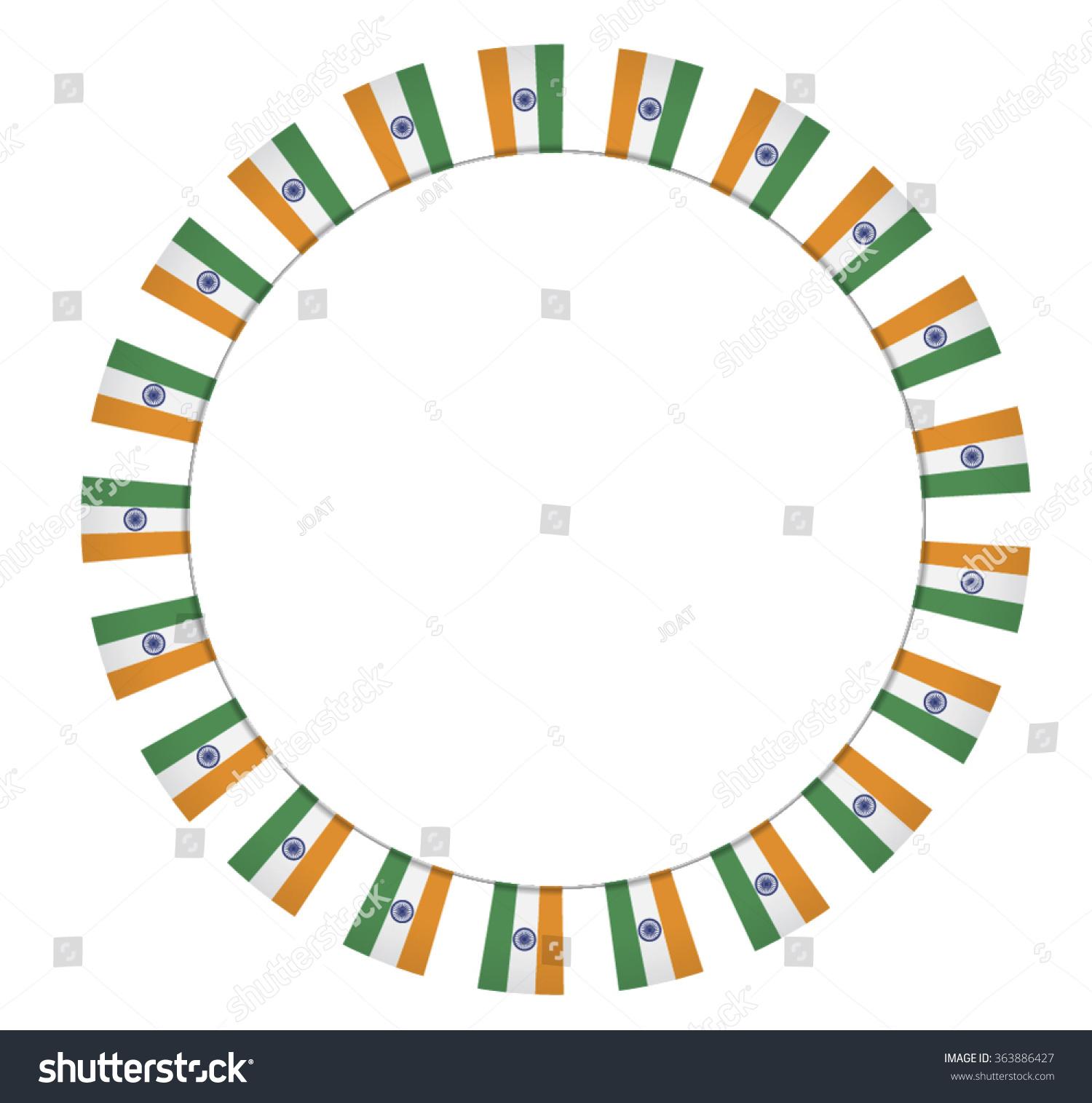 Circular Border Made Bunting Flags India Vector de stock363886427 ...