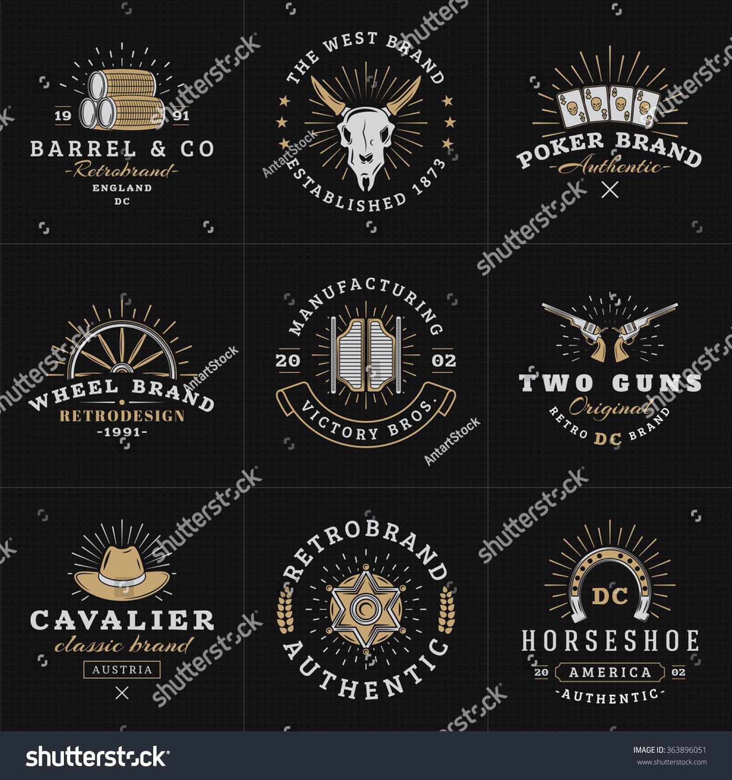 Set hipster vintage labels logotypes badges stock vector 363896051 set of hipster vintage labels logotypes badges for your business wild west theme magicingreecefo Image collections