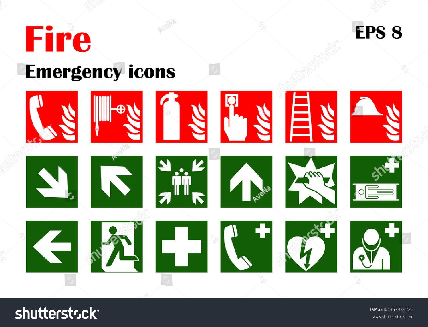 Vector Fire Emergency Icons Signs Evacuations Stock Vector 363934226 Shutterstock