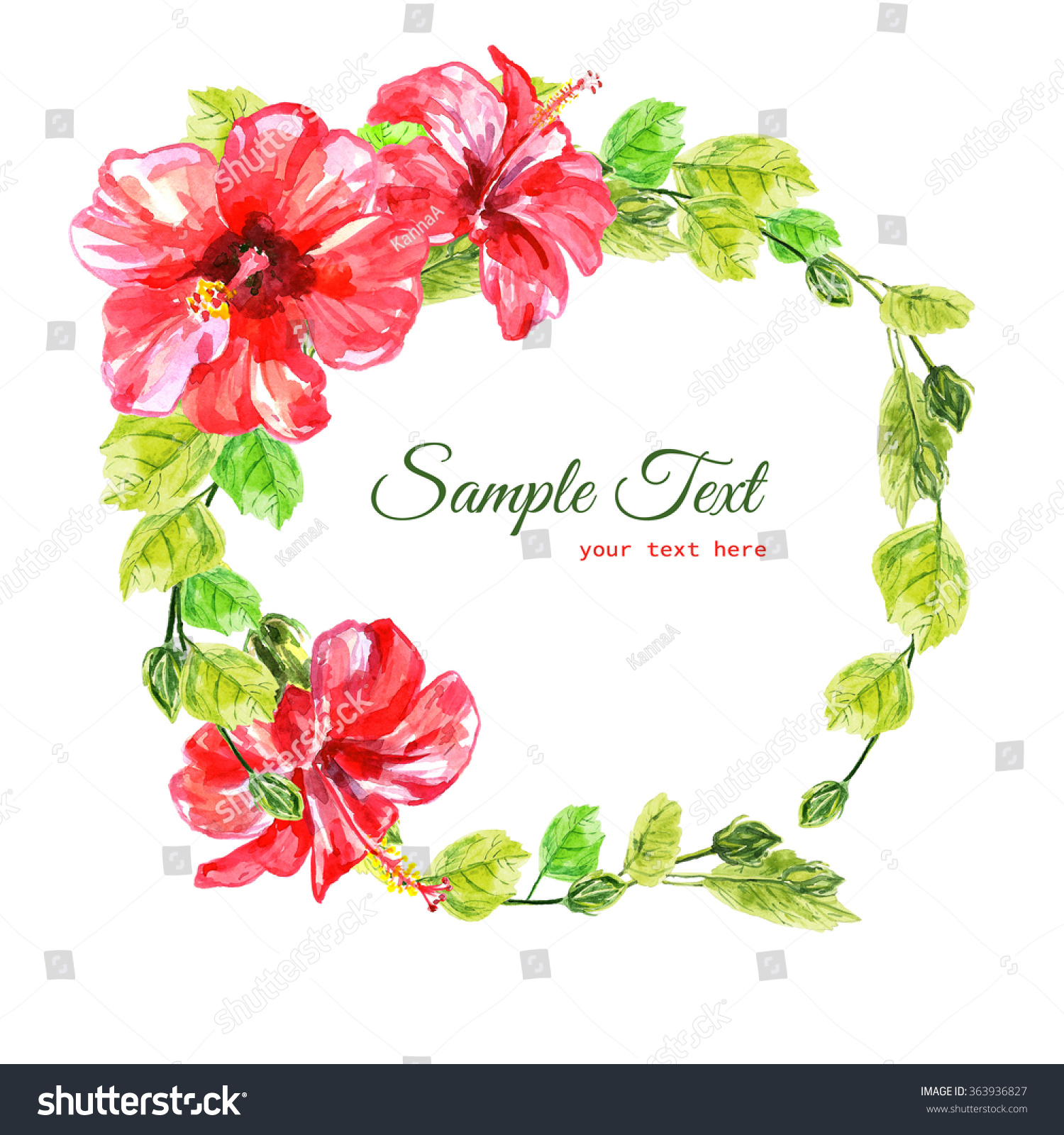 Frame Red Watercolor Hibiscus Flowers Illustration Stock