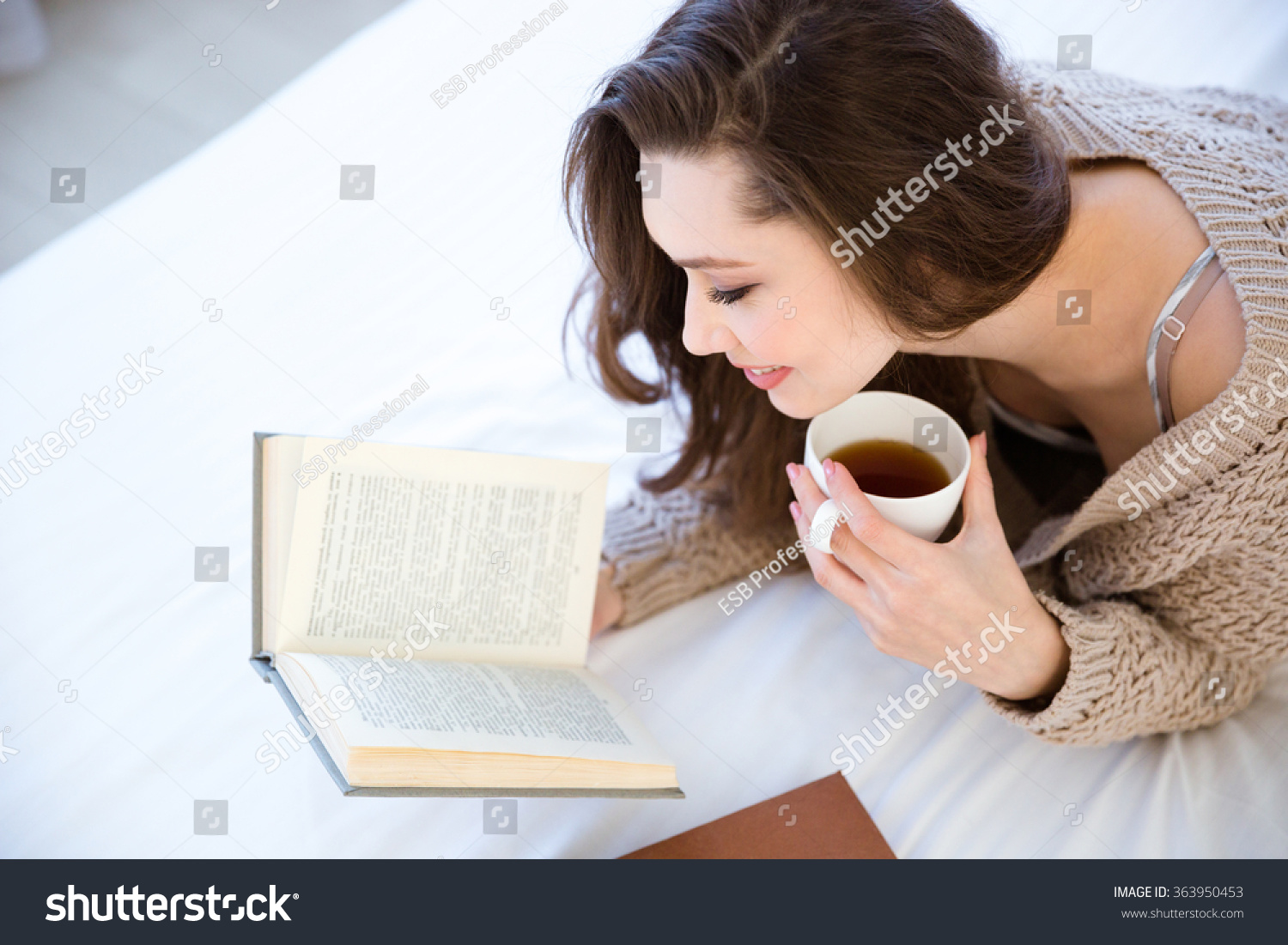 Cute Lovely Young Woman Reading Book Stock Photo 363950453