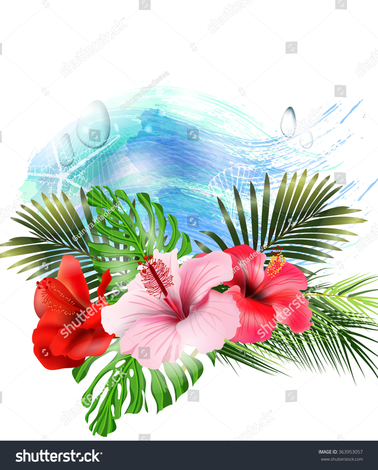 Summer holidays background tropical flowers template stock vector summer holidays background with tropical flowers template vector izmirmasajfo