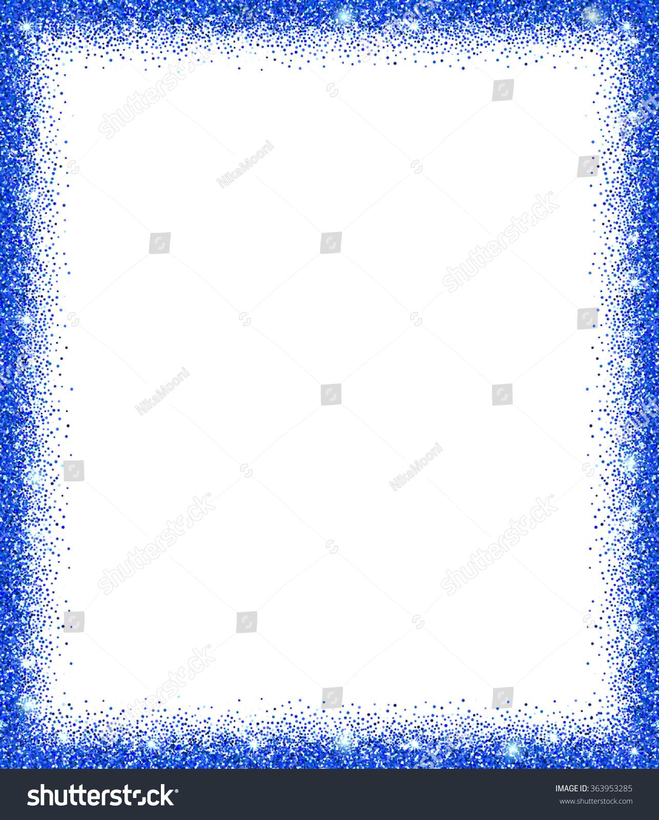 Blue Glitter Frame Sparkles On White Stock Vector (Royalty Free ...