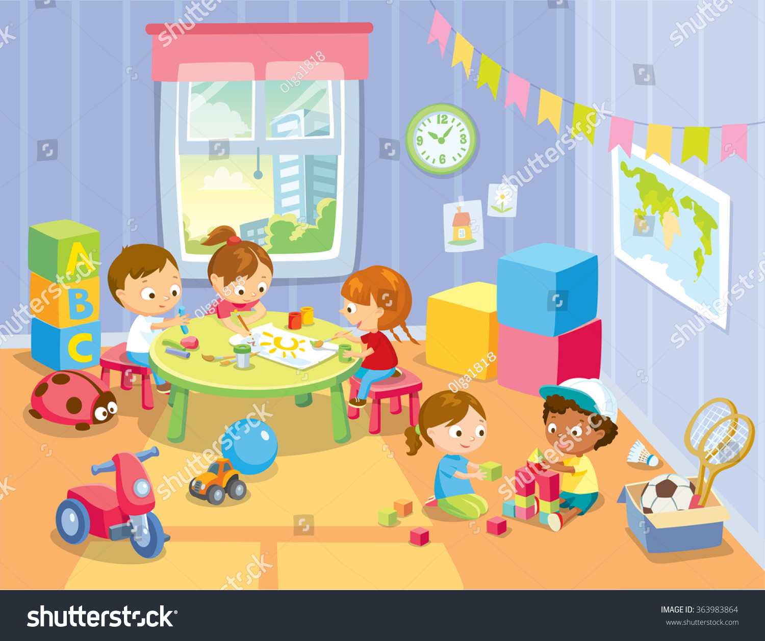 Childrens Activity Play Room Stock Vector 363983864