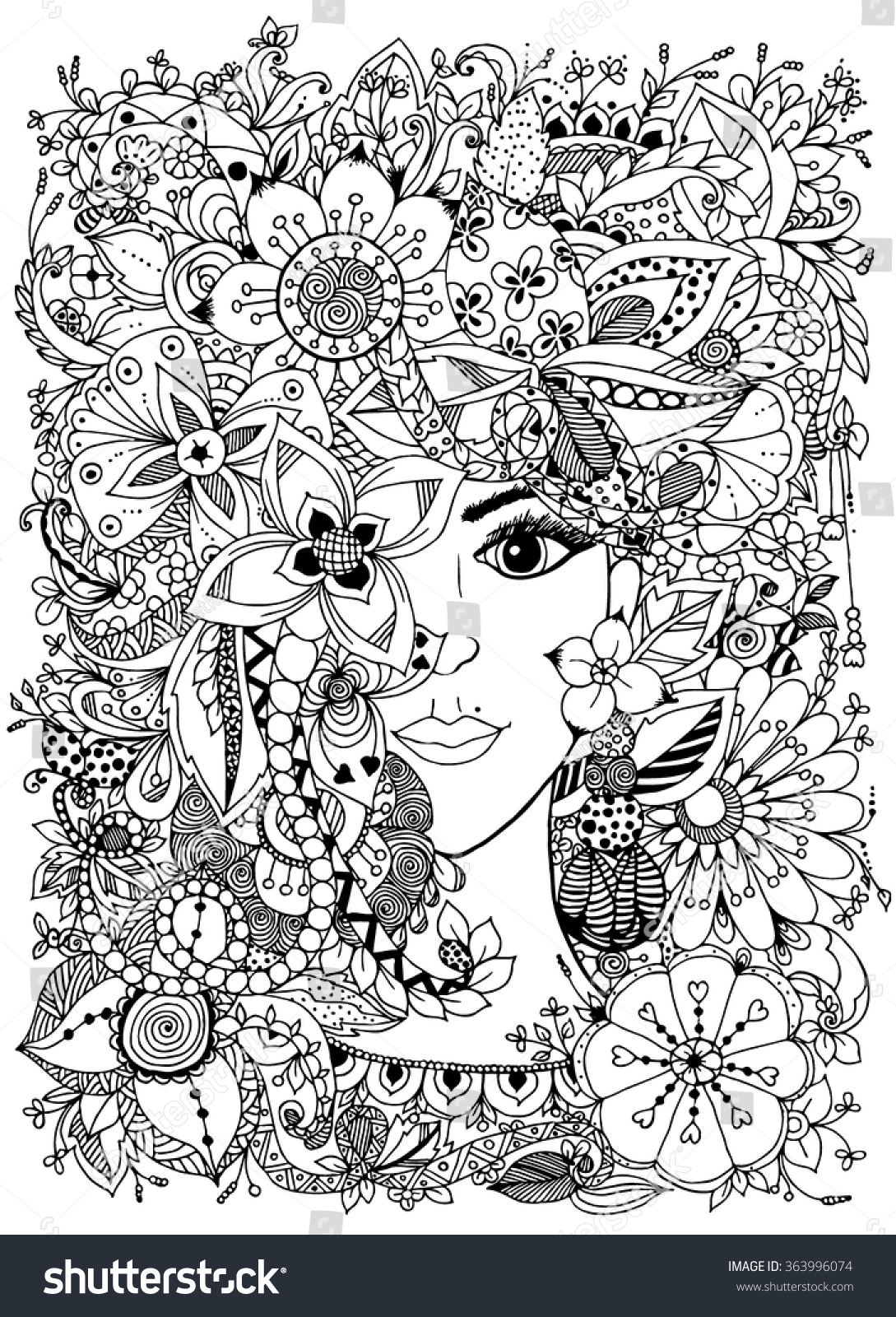 Vector illustration girl flowers on her stock vector for Doodle art free