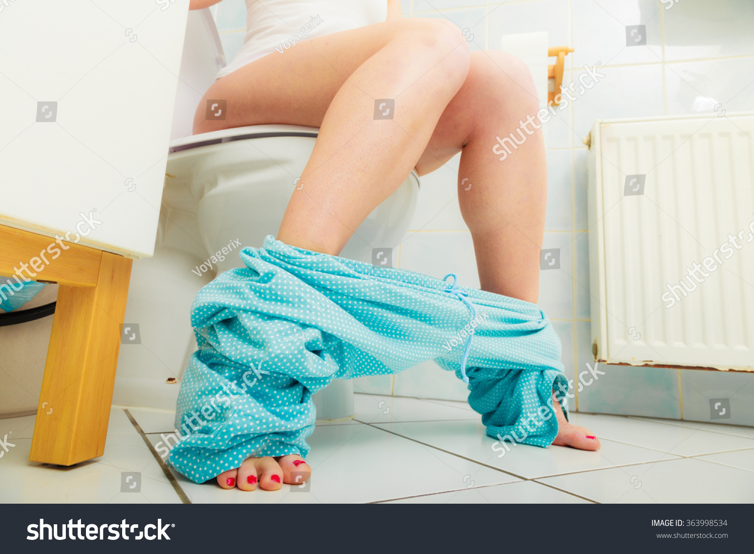 Woman Constipation Diarrhoea Sitting On Toilet Stock Photo ...