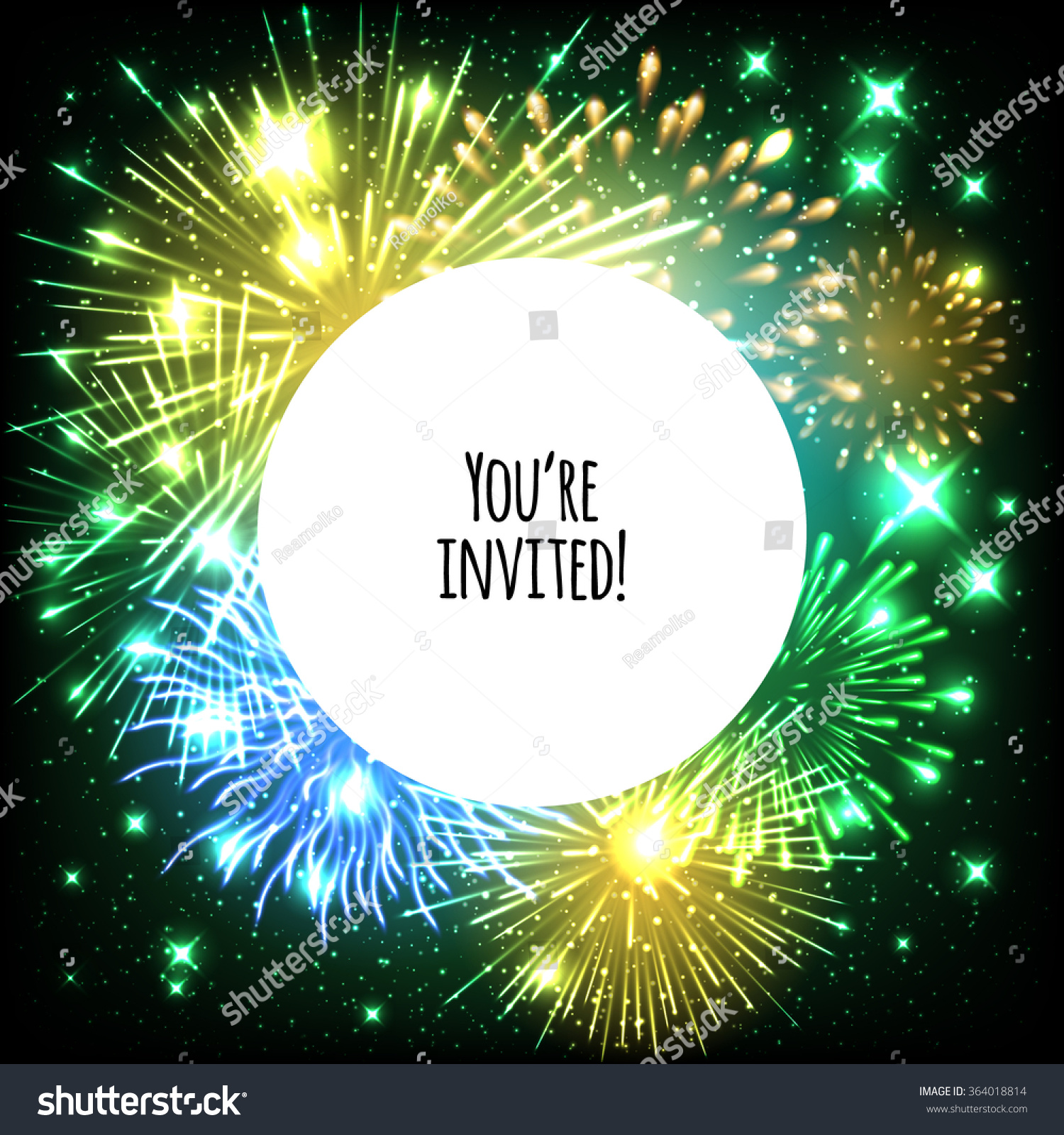 universal invitation card template design with fireworks and round frame background wedding birthday