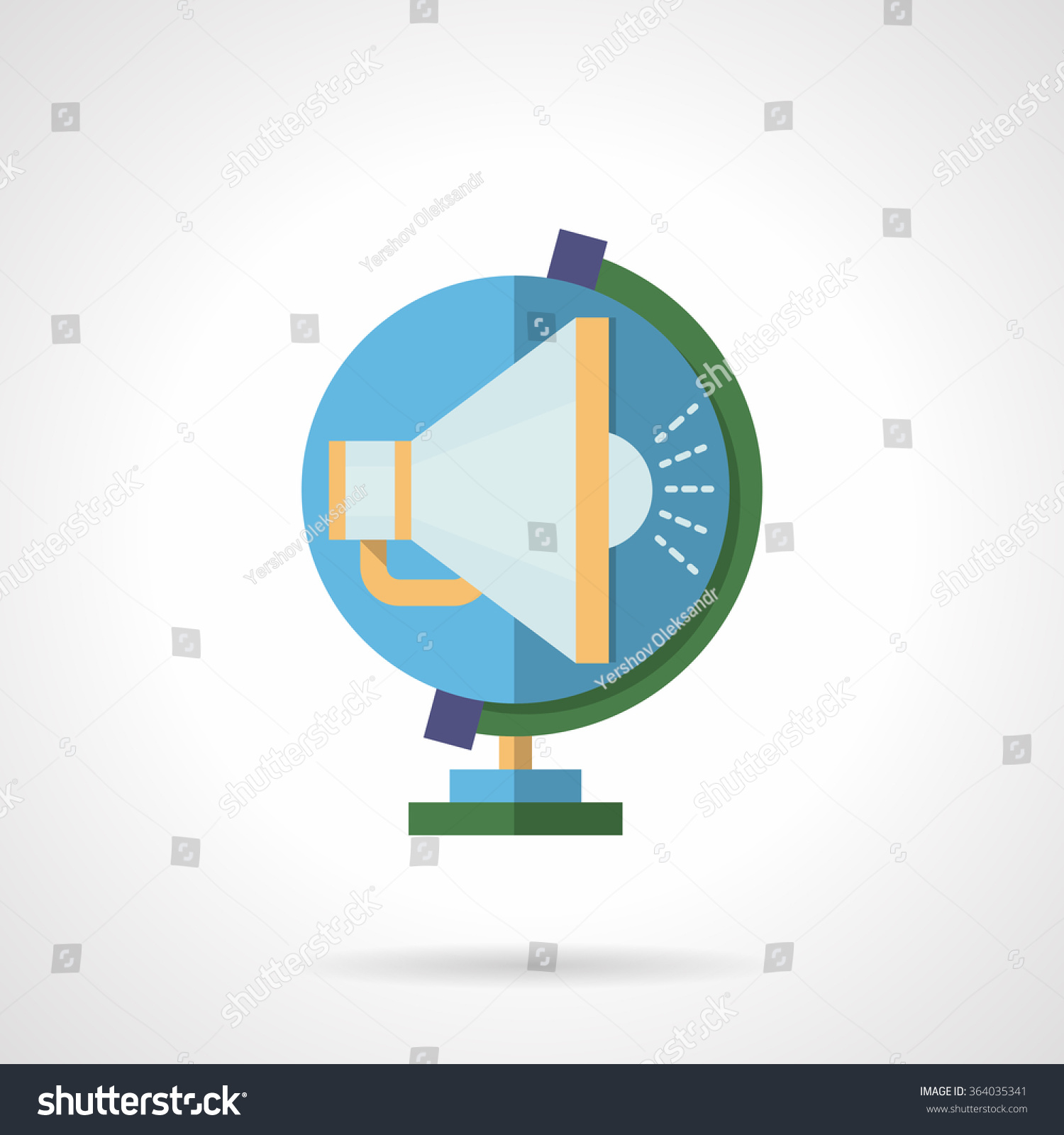 Global Marketing Advertising Symbol Blue Color Stock Vector