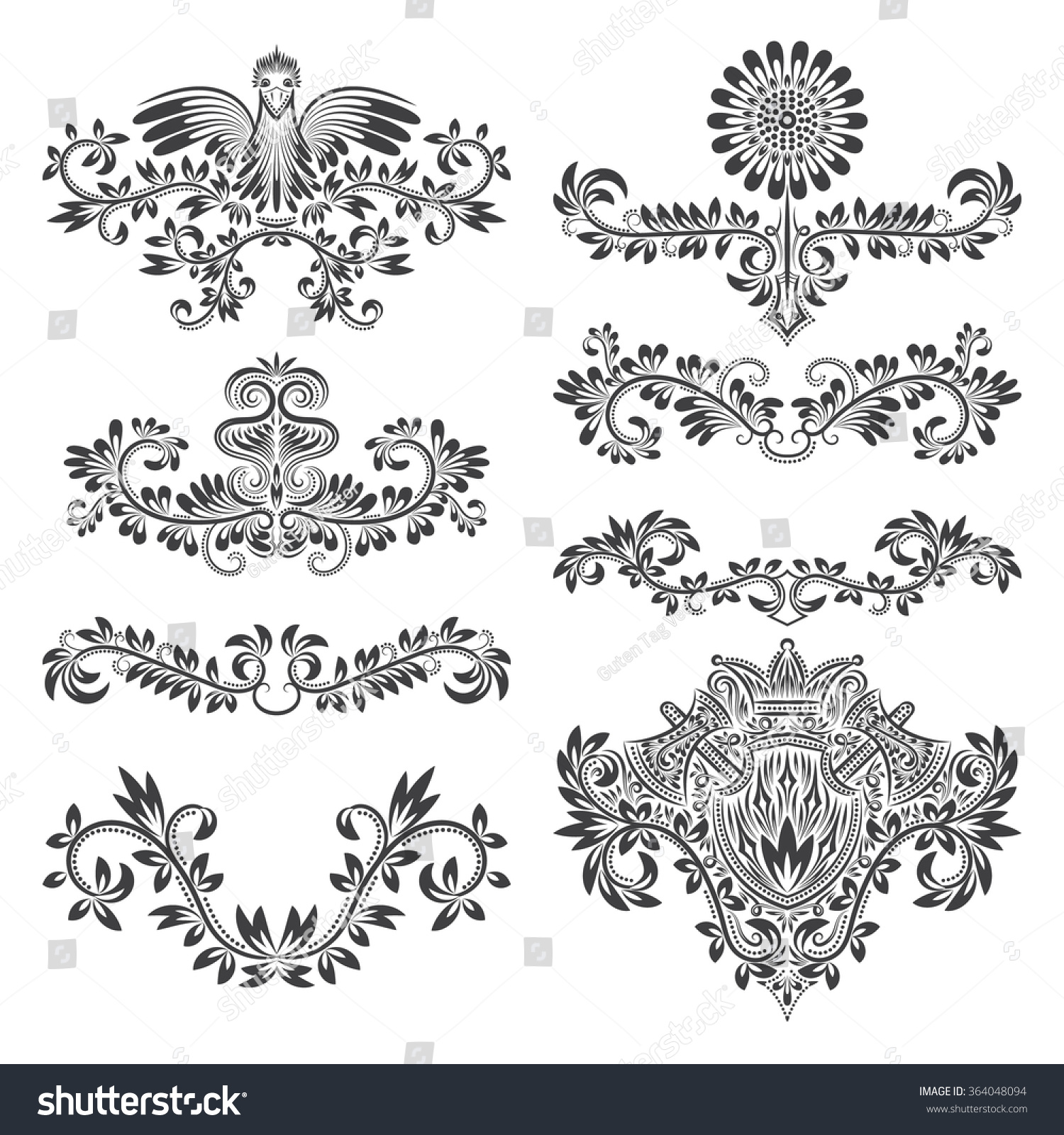 Design ornamental elements set floral tattoo in vintage for Baroque design elements