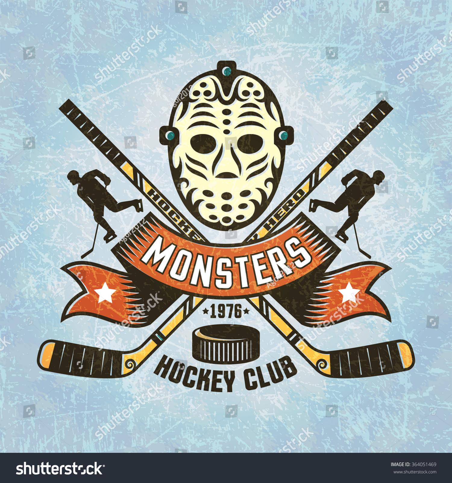 logo for hockey team retro goalie mask crossed sticks