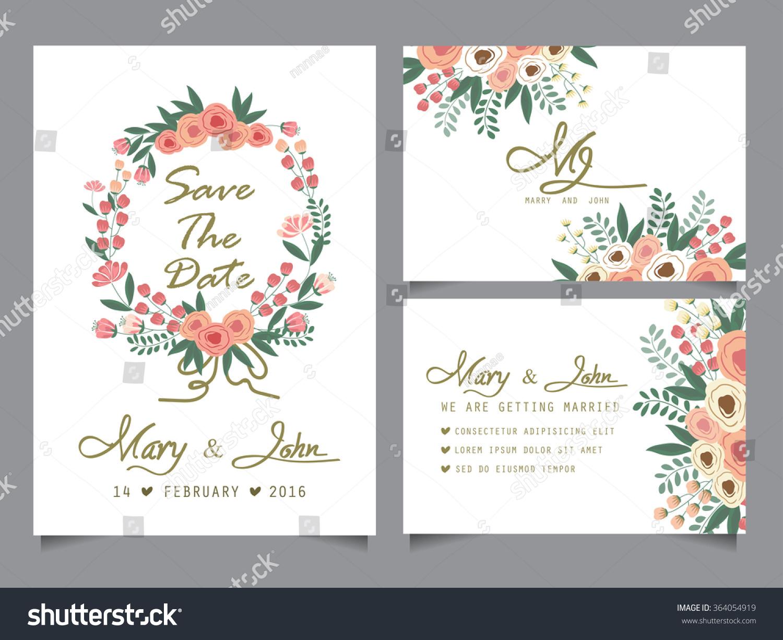 Wedding Invitation Card Templates Love Valentine Stock Vector ...
