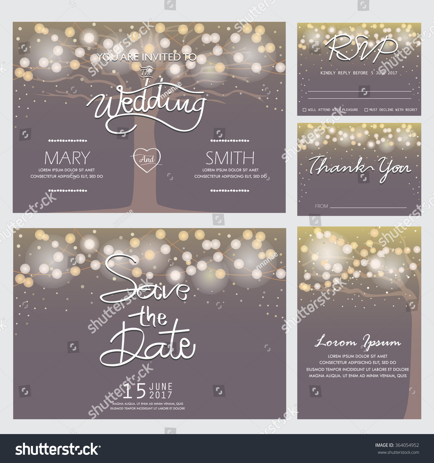Wedding Invitation RSVP Thank You Card Stock Vector 364054952 ...