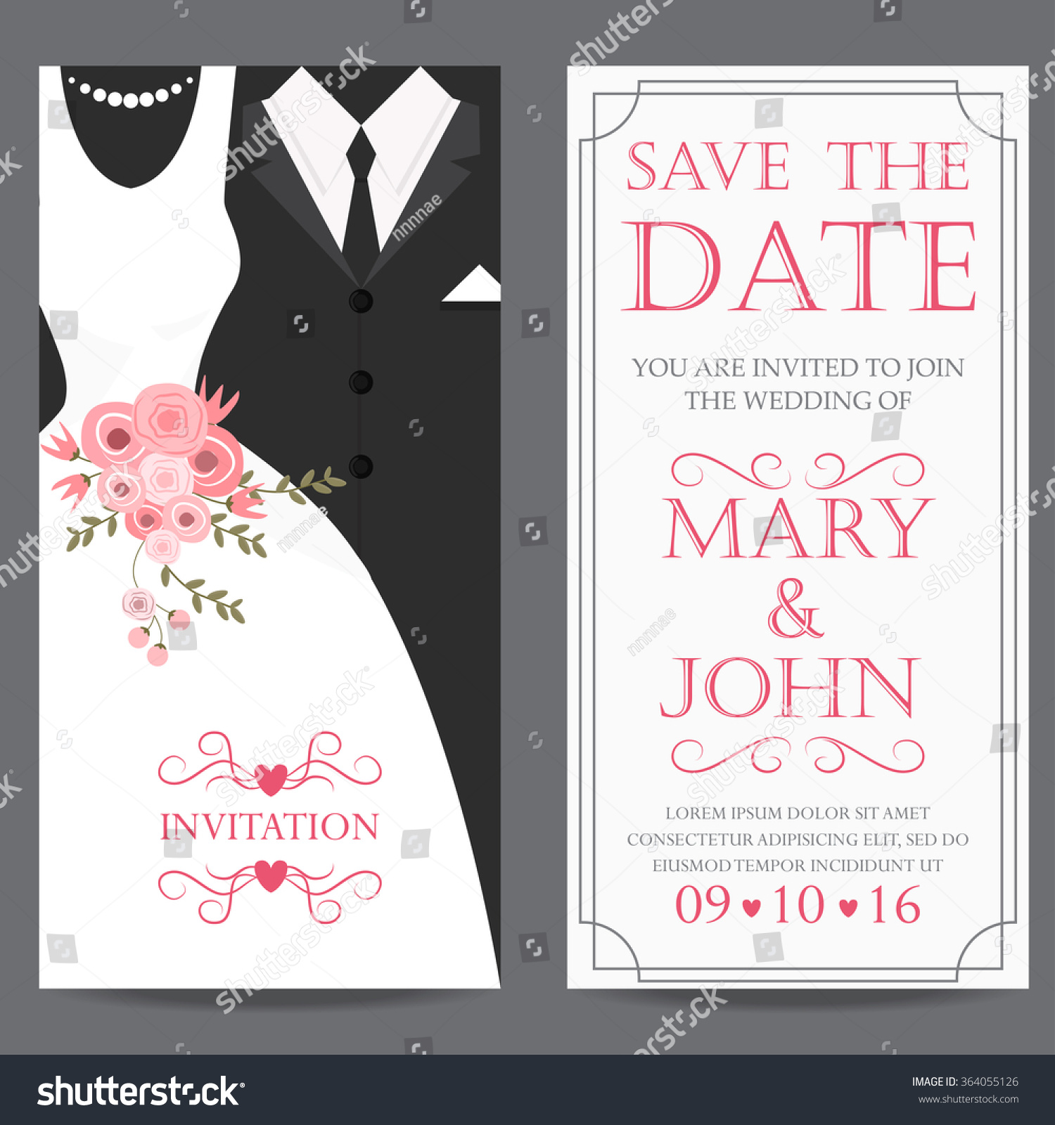 Wedding invitation card bride groom dress imagem vetorial de banco wedding invitation card bride and groom dress concept love and valentine day vector stopboris Images