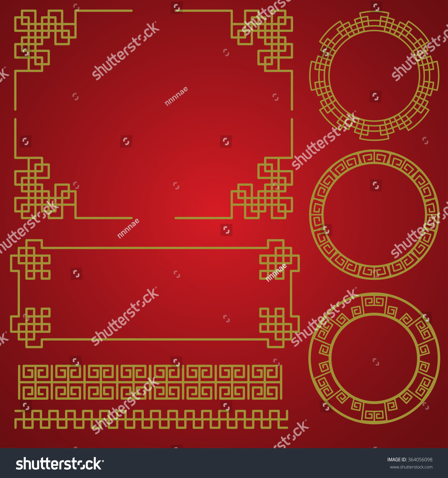 isolated chinese traditional border and frame template gold and red classic chinese pattern vector illustration