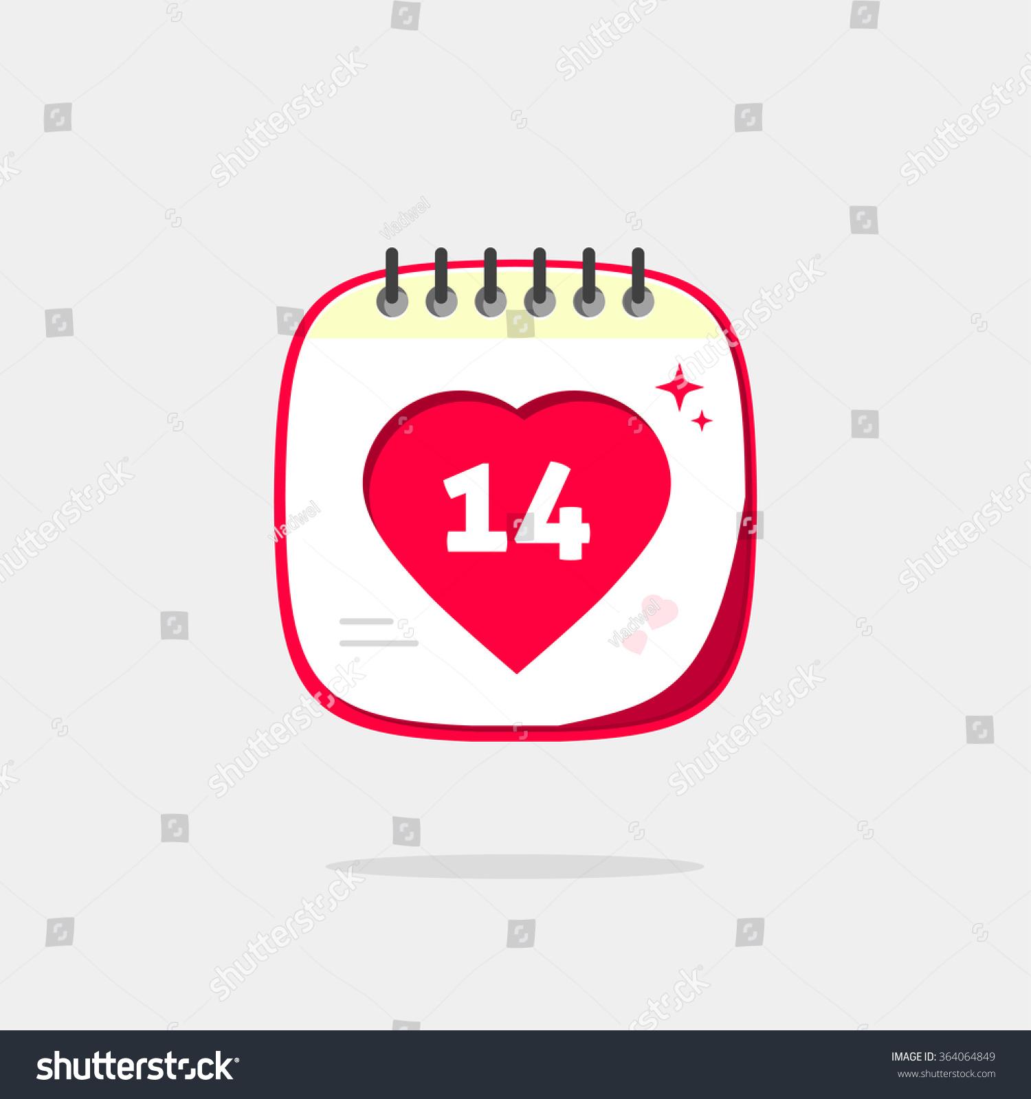 calendar love heart icon valentines day stock illustration