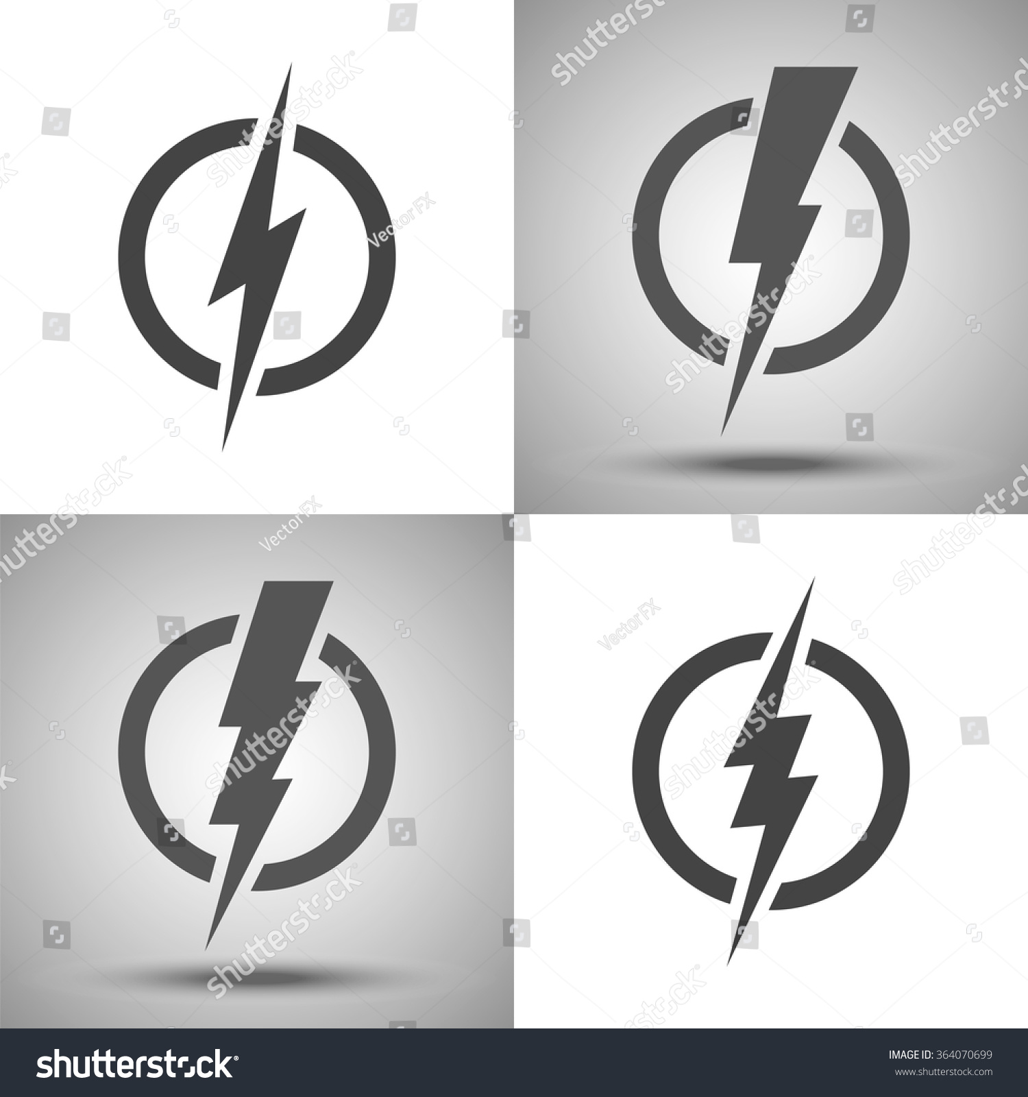 lightning set of vector logos concept of energy and
