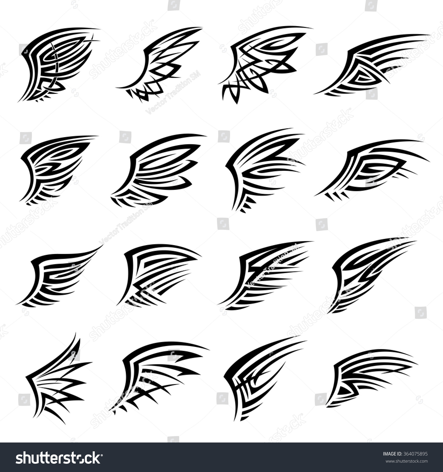 black tribal tattoo designs isolated wings stock vector 364075895 shutterstock. Black Bedroom Furniture Sets. Home Design Ideas