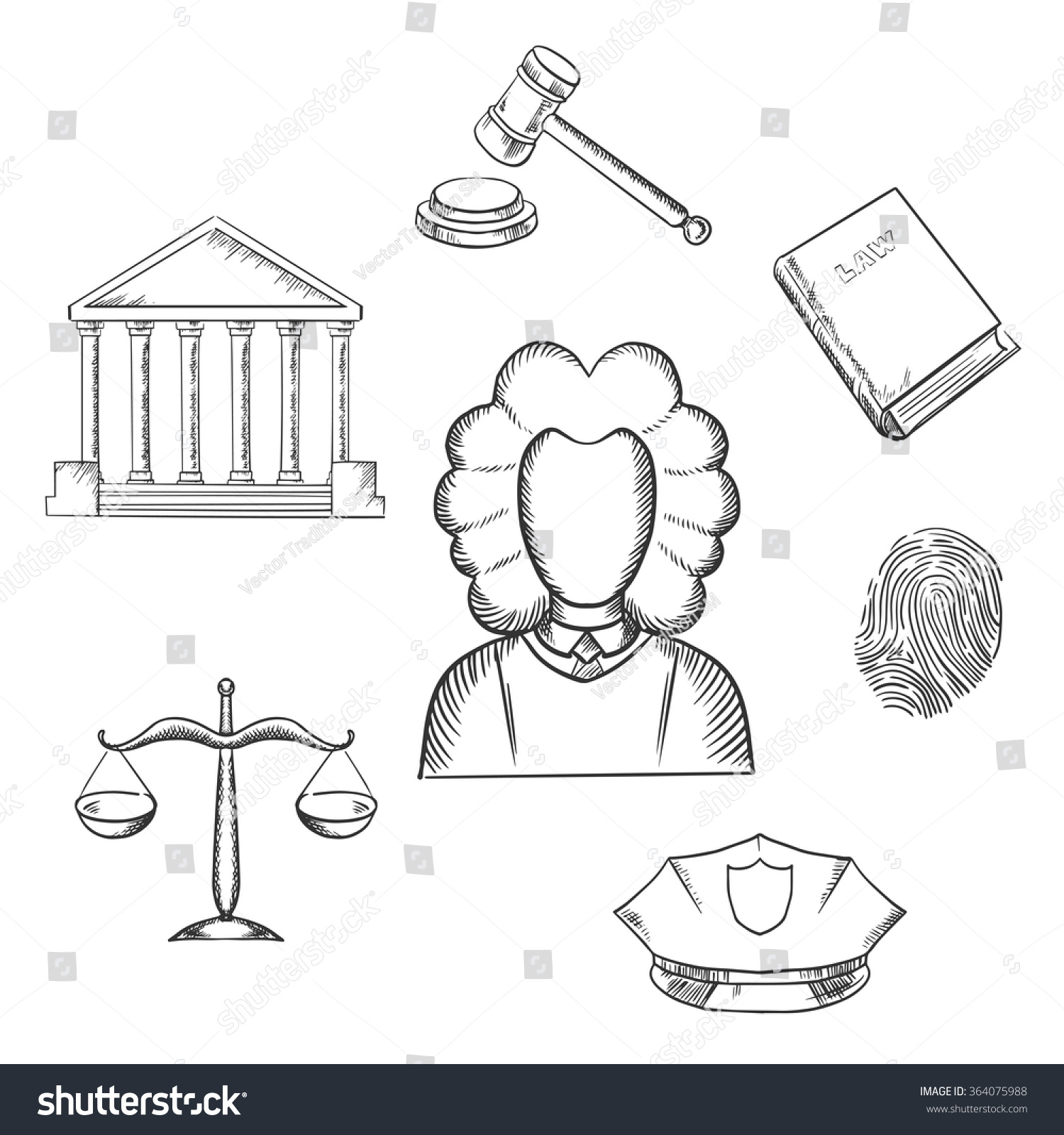 Law Justice Sketch Icons Surrounding Lawyer Lager vektor